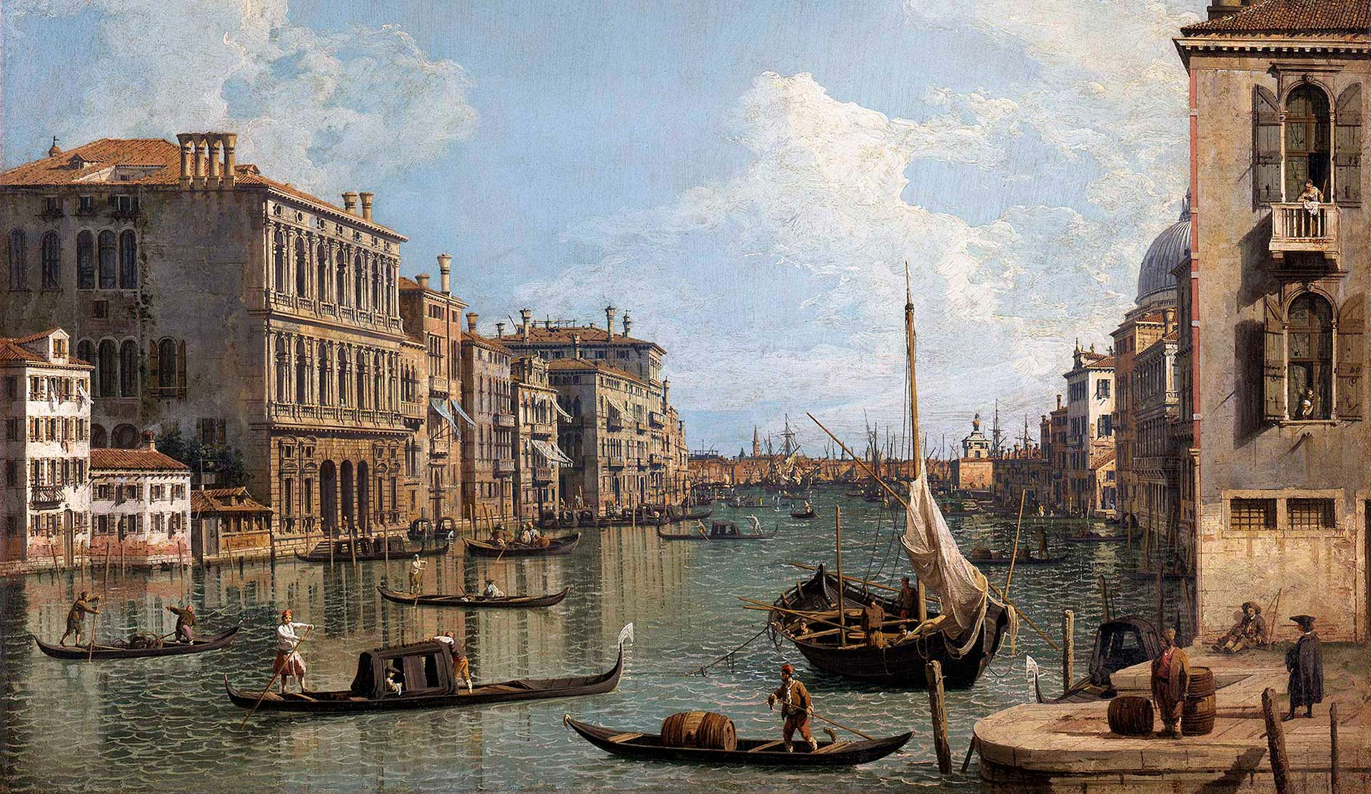 A detail from a painting by Canaletto, titled View of the Grand Canal looking toward the Punta della Dogana from Campo Sant'Ivo, dating from the 2nd third of the 18th Century.