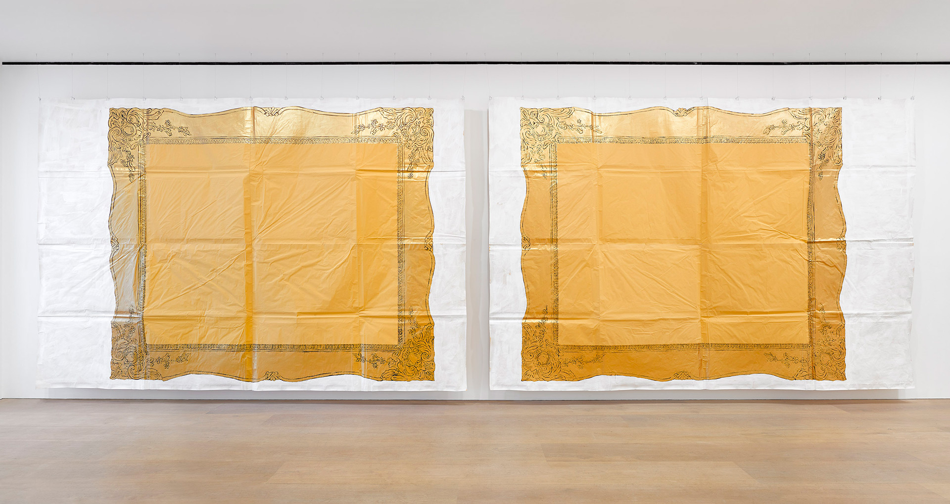 An installation view of an exhibition titled, Maxwell Alexandre, Pardo é Papel: Close a door to open a window, at David Zwirner London in 2020.