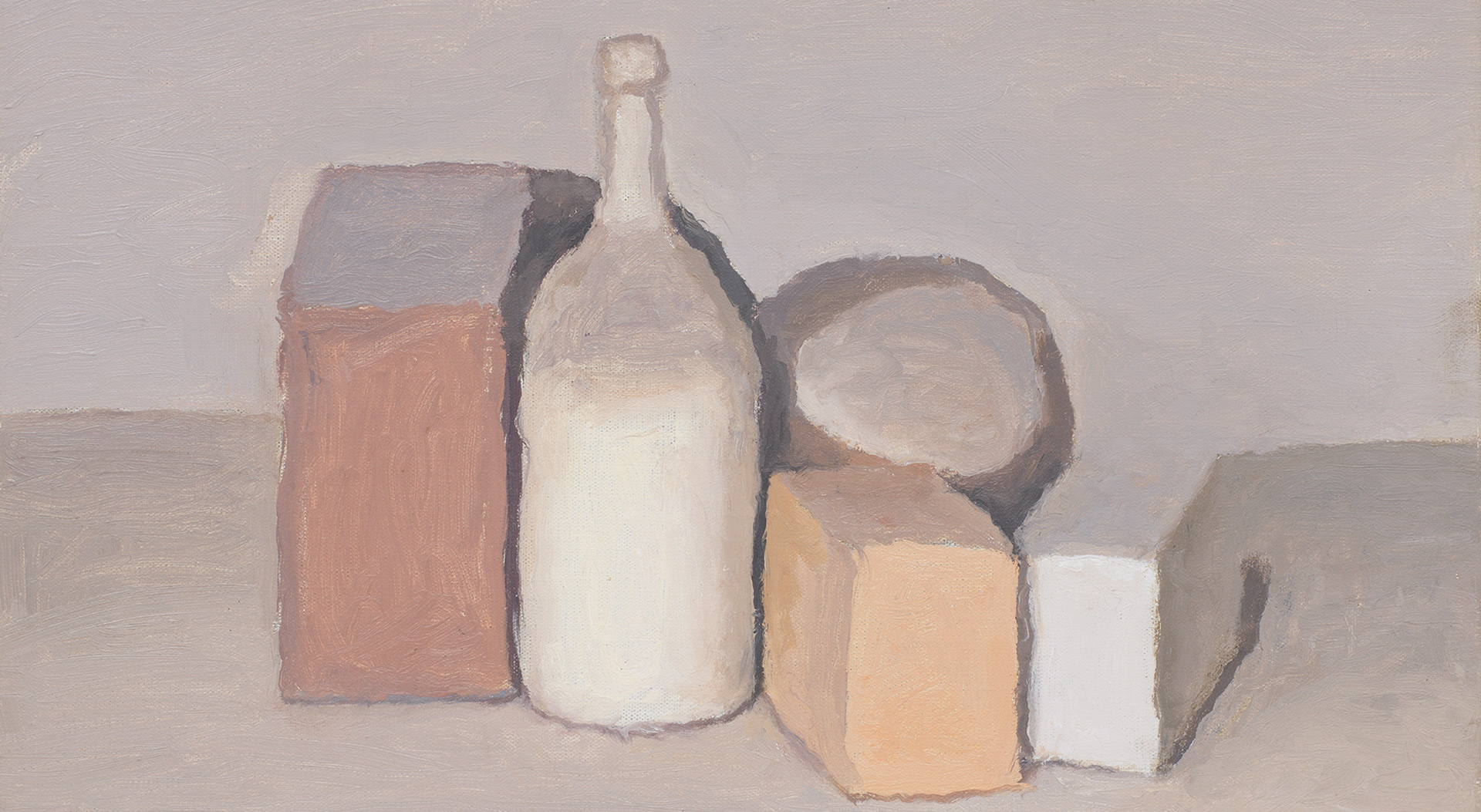 A detail from a painting by Giorgio Morandi, titled Natura morta (Still Life), dated 1955.