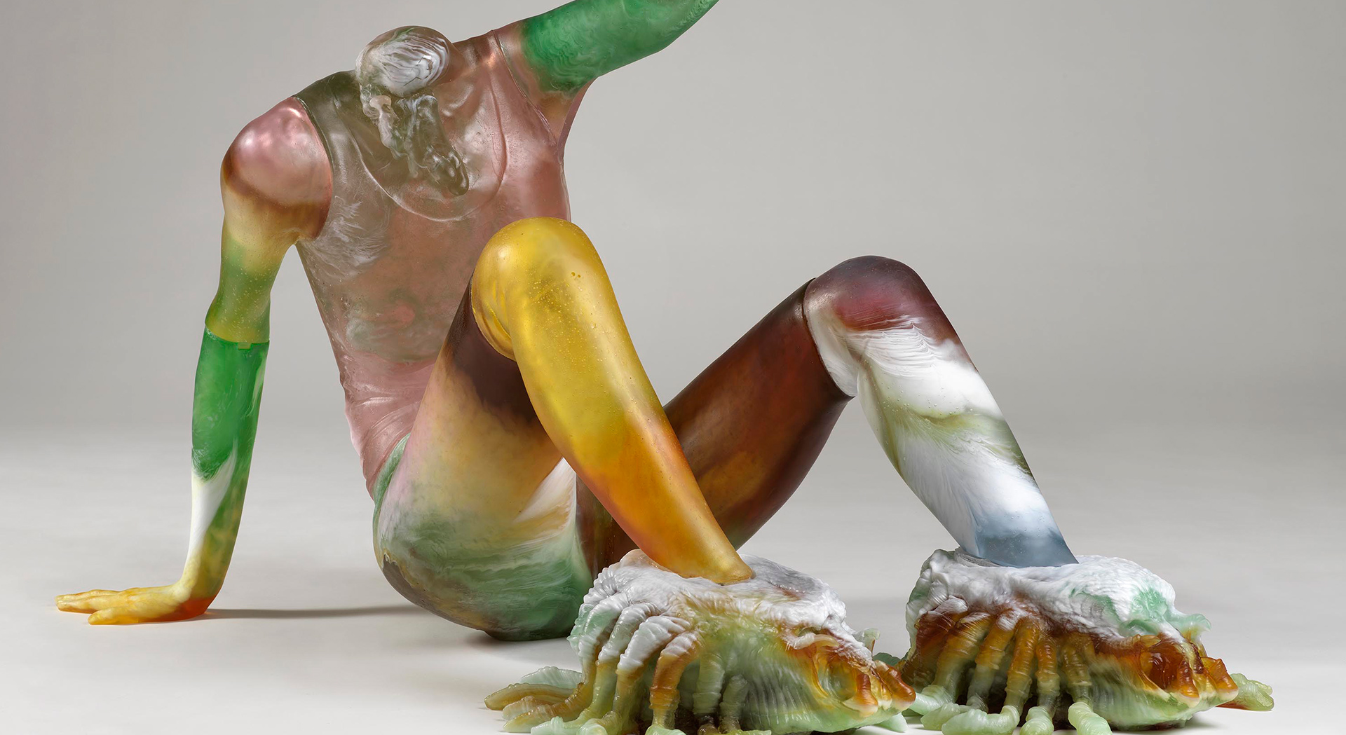A detail of a sculpture by Andra Ursuta, titled Predators 'R Us, dated 2020.