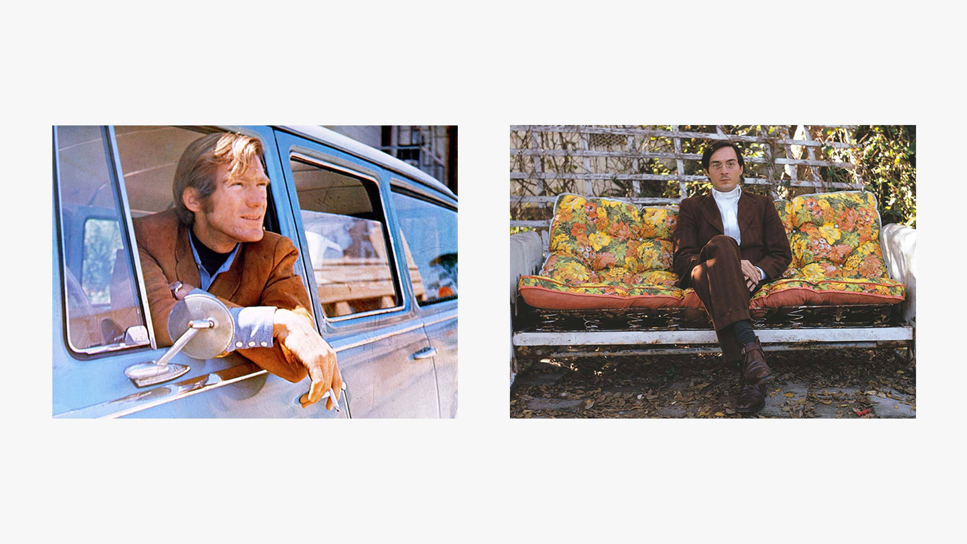 A composite of two photos, (Left) John McCracken in 1969; (Right) William Eggleston, a self-portrait, from circa1967–1970.