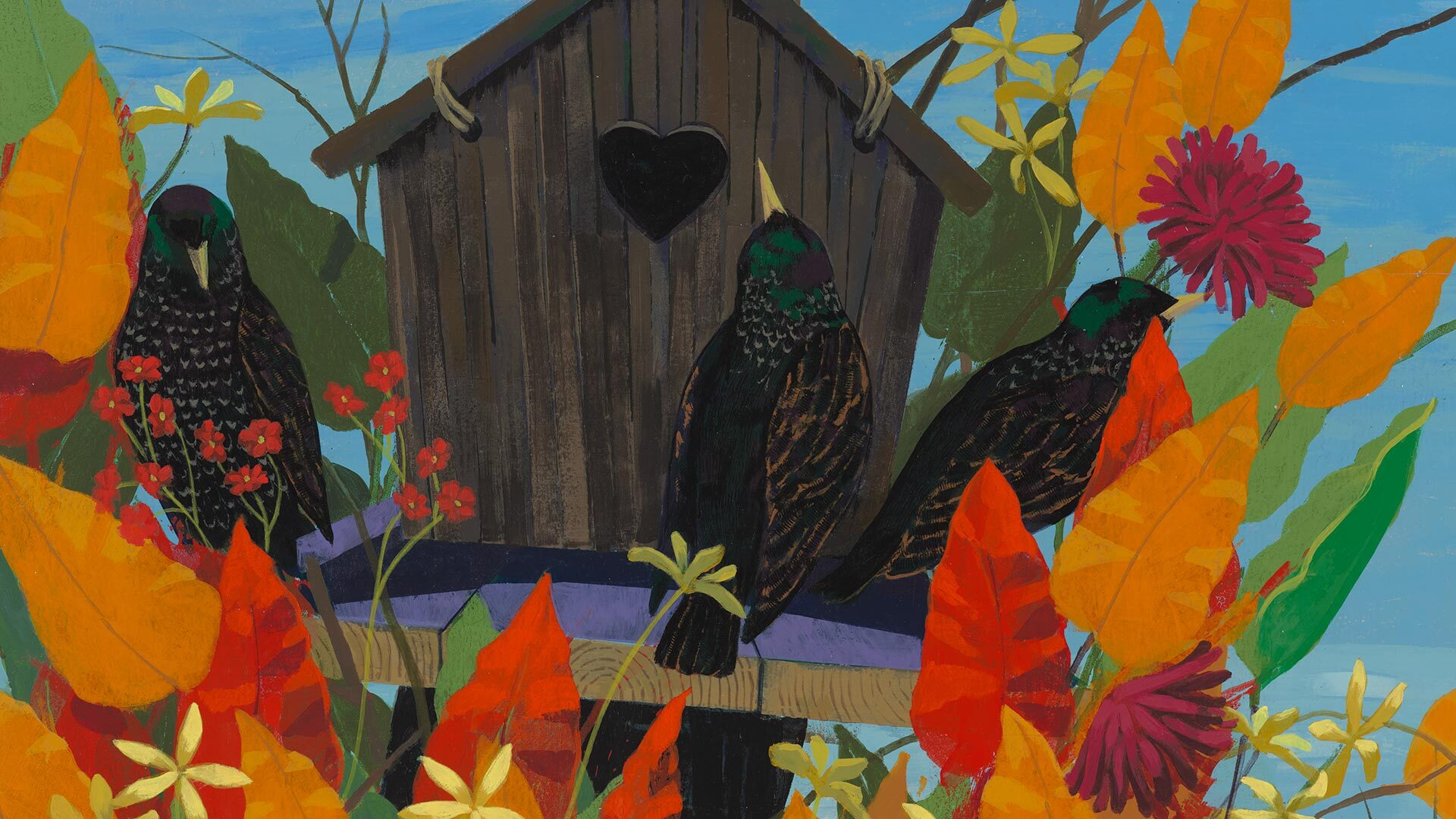 A detail from the work titled Black and Part Black Birds in America: (European Starlings) by Kerry James Marshall, dated 2021