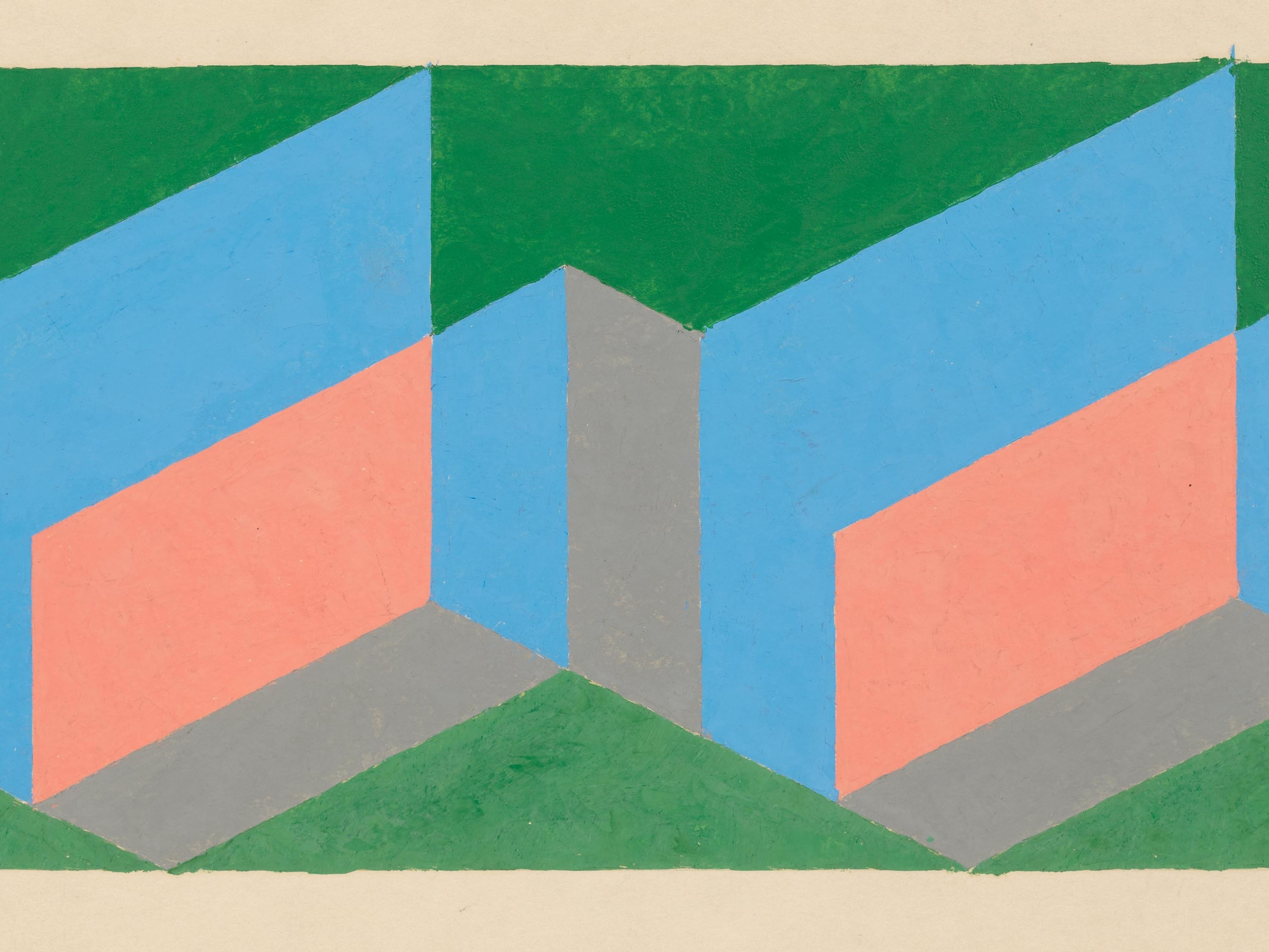A detail from the work titled Study for Tautonym by Josef Albers, dated 1944