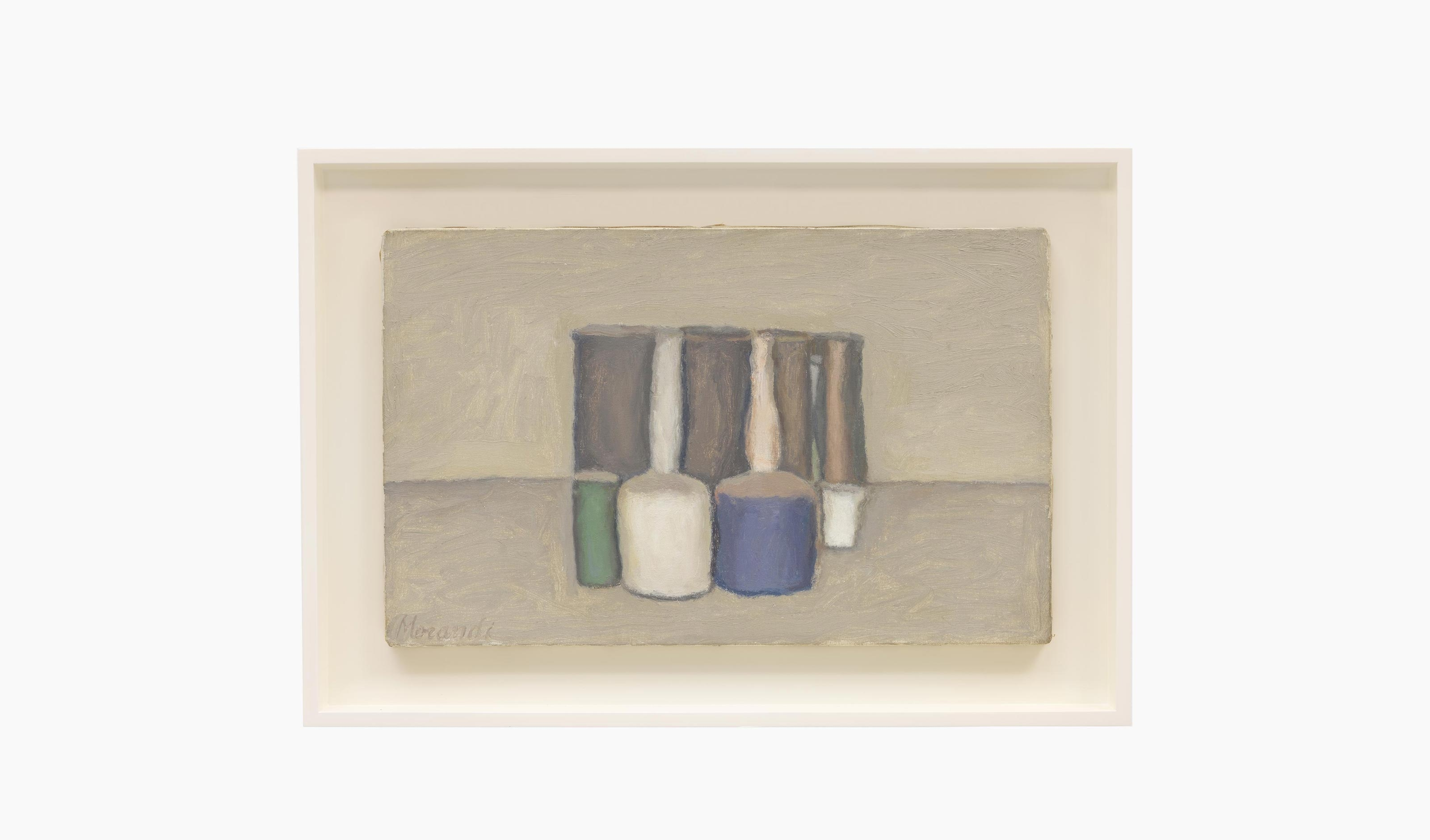 A painting by Giorgio Morandi, titled Natura morta (Still Life), dated 1959.