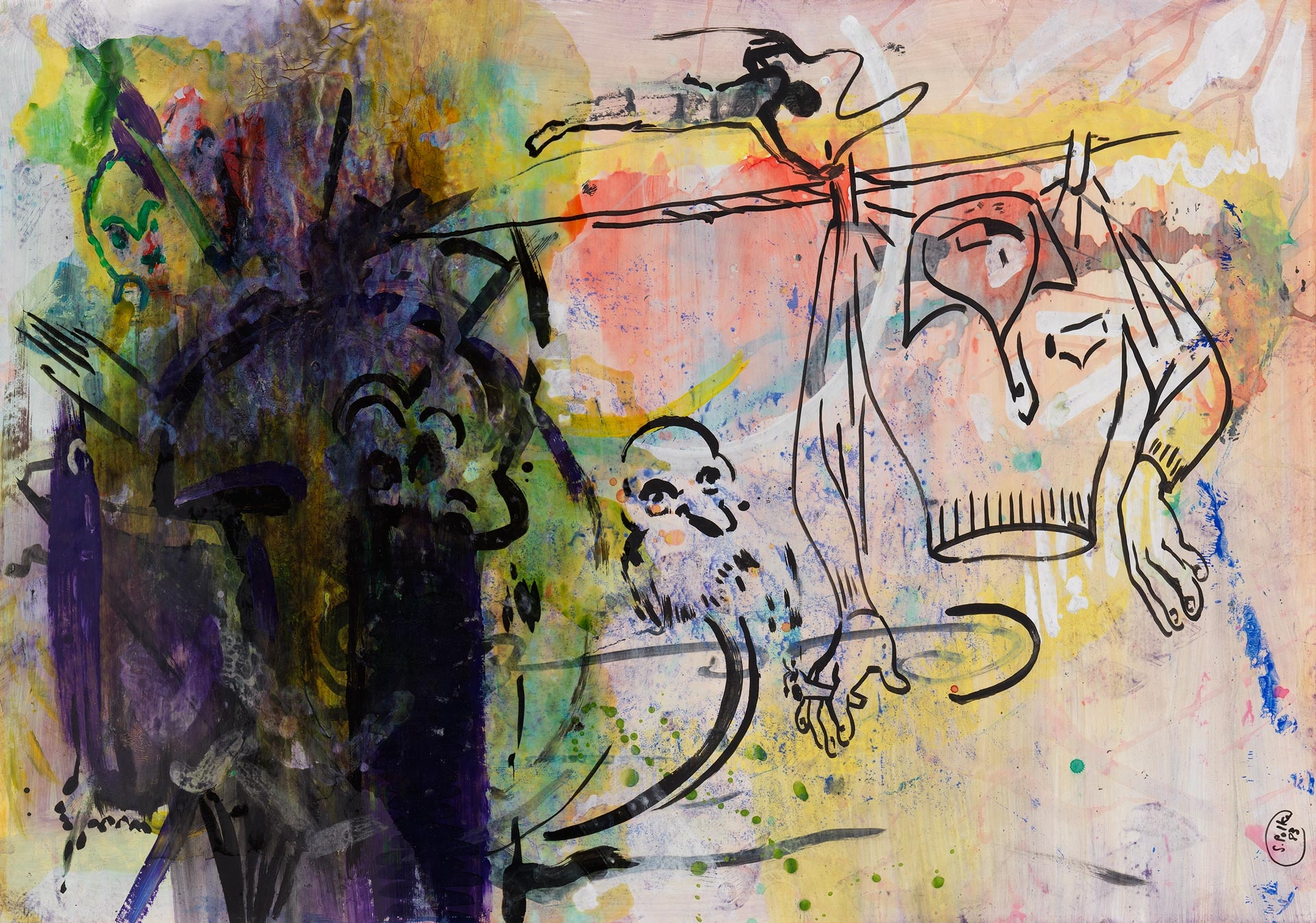 An untitled painting by Sigmar Polke, dated 1983.