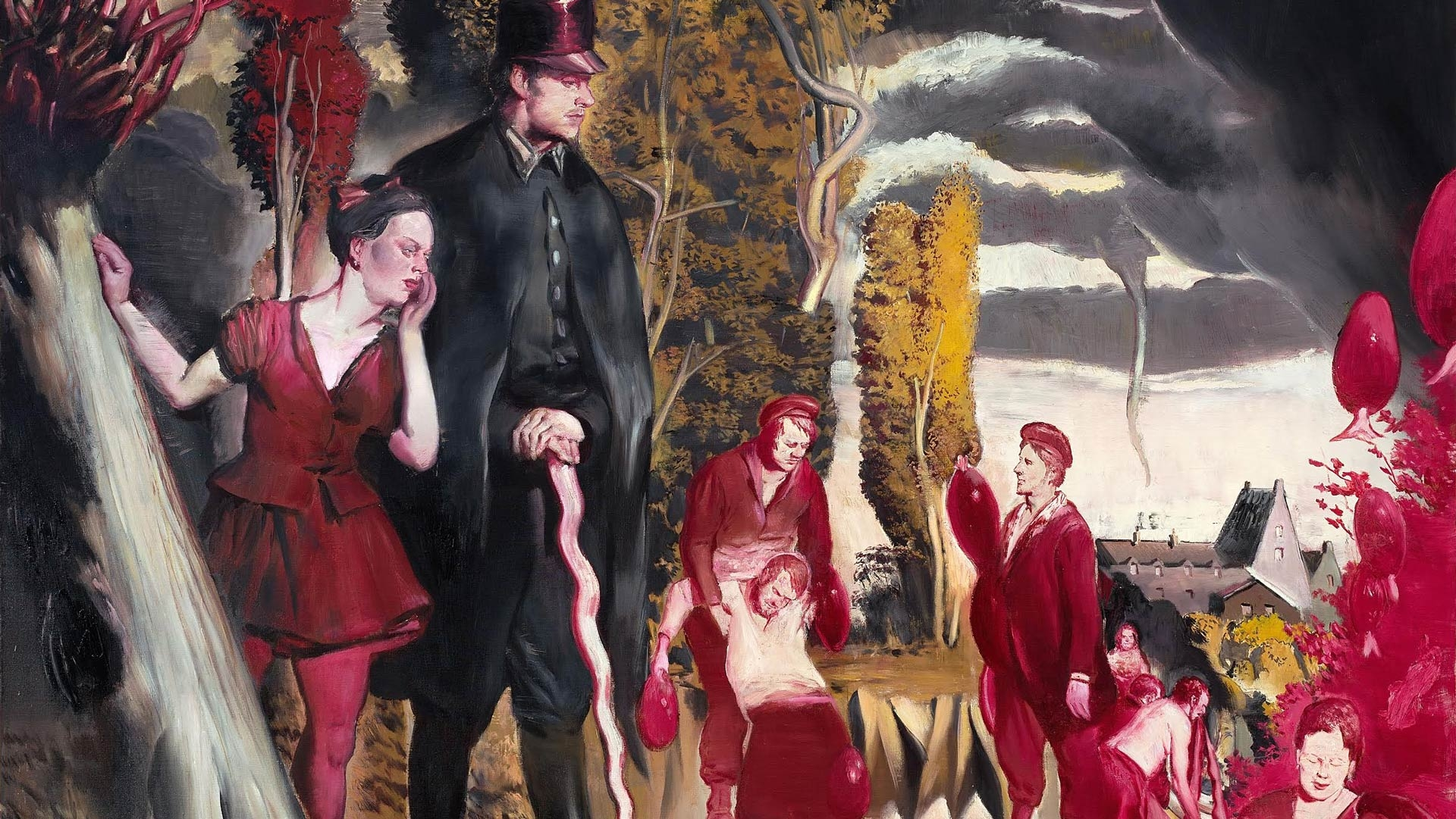 A detail from a painting by Neo Rauch, titled Blutsbrüder, dated 2017.