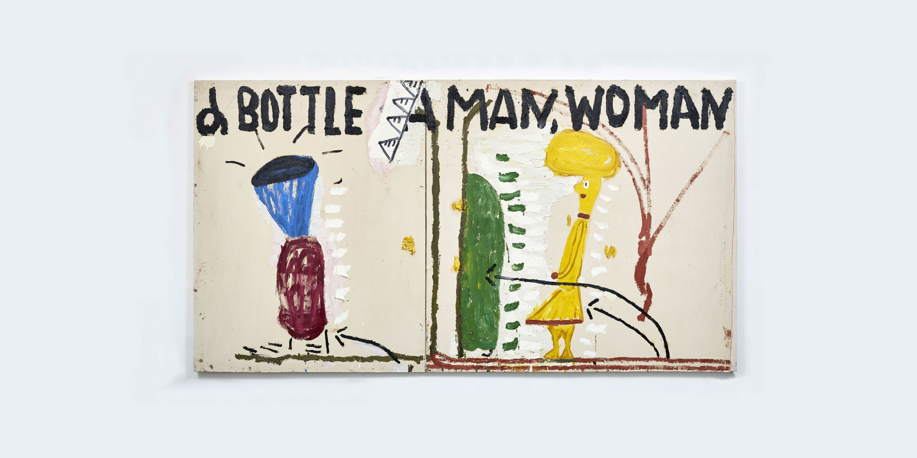 A painting by Rose Wylie, titled Yellow Man & Liquer Bottle, dated 2017.