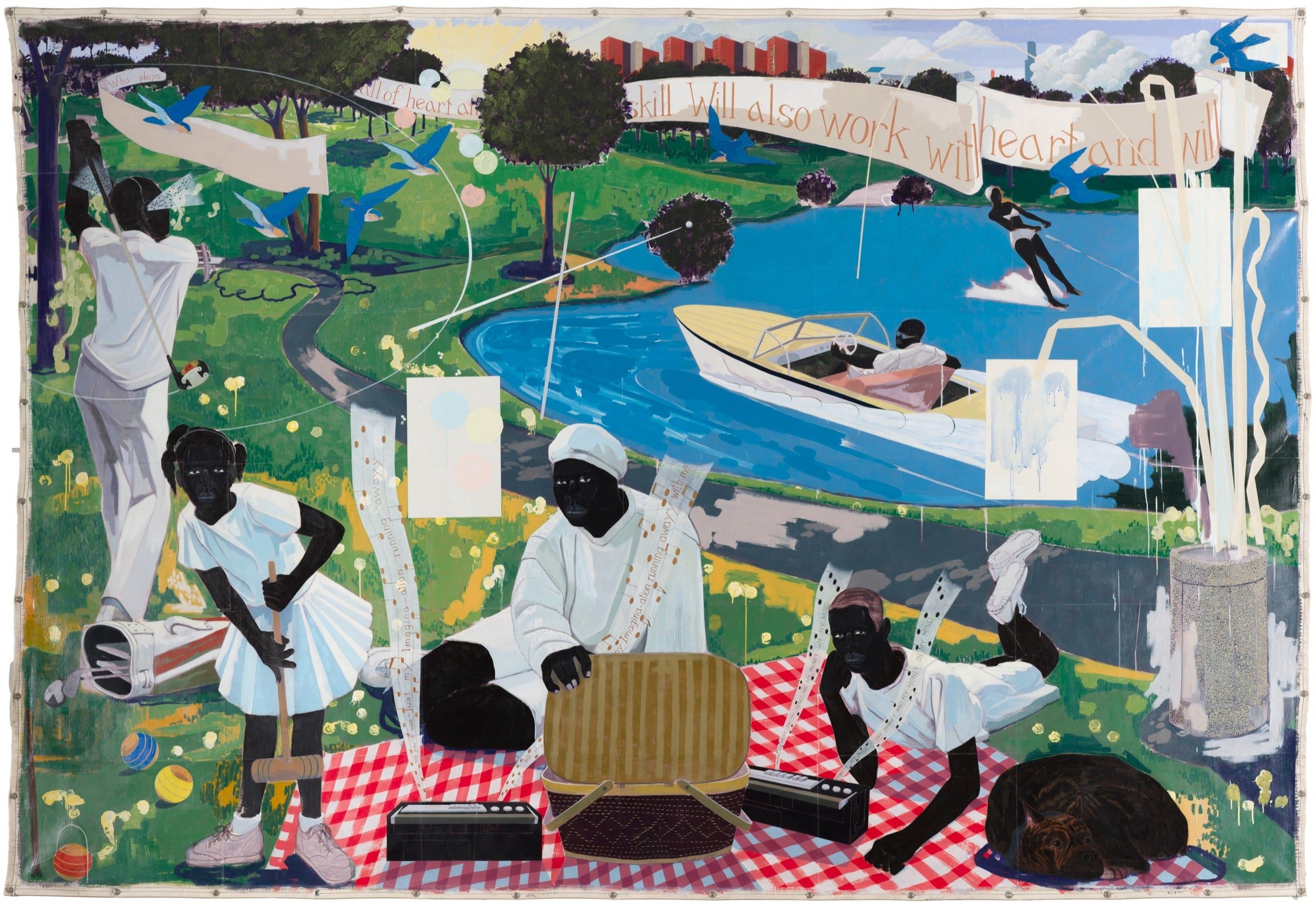 Kerry James Marshall's work titled Past Times, from 1997, it depicts a family having a picnic on a riverbank