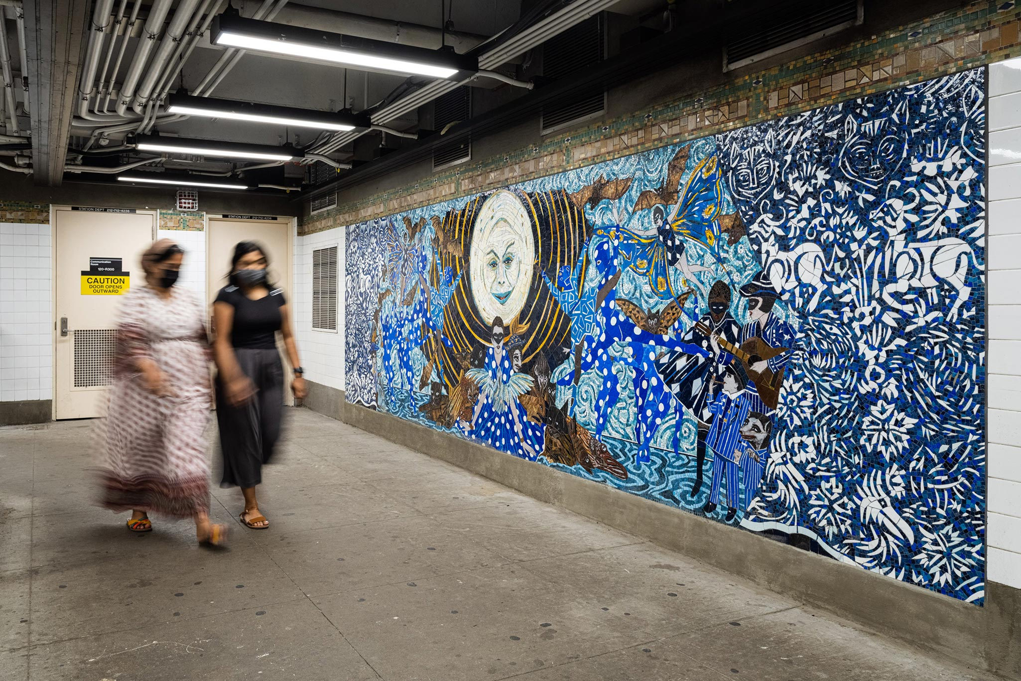 A photo of a mosaic mural by Marcel Dzama, titled No Less Than Everything Comes Together, installed in the subway in New York, in 2021.