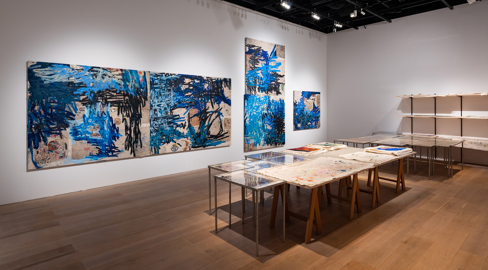 An installation view of an exhibition titled MAM Project 029: Oscar Murillo, at Mori Art Museum, Tokyo, in 2021.