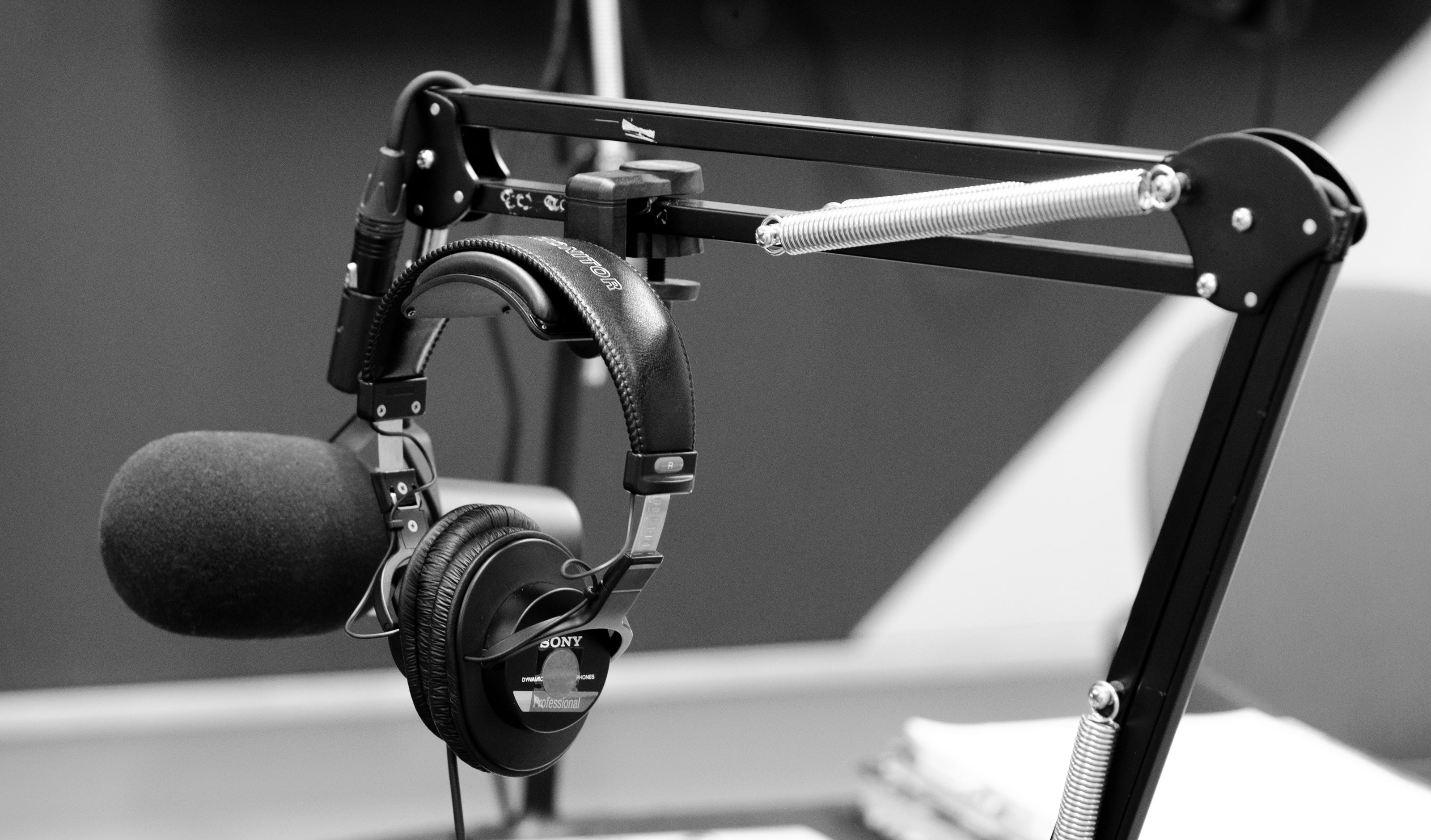 A photograph of microphones in a recording studio.