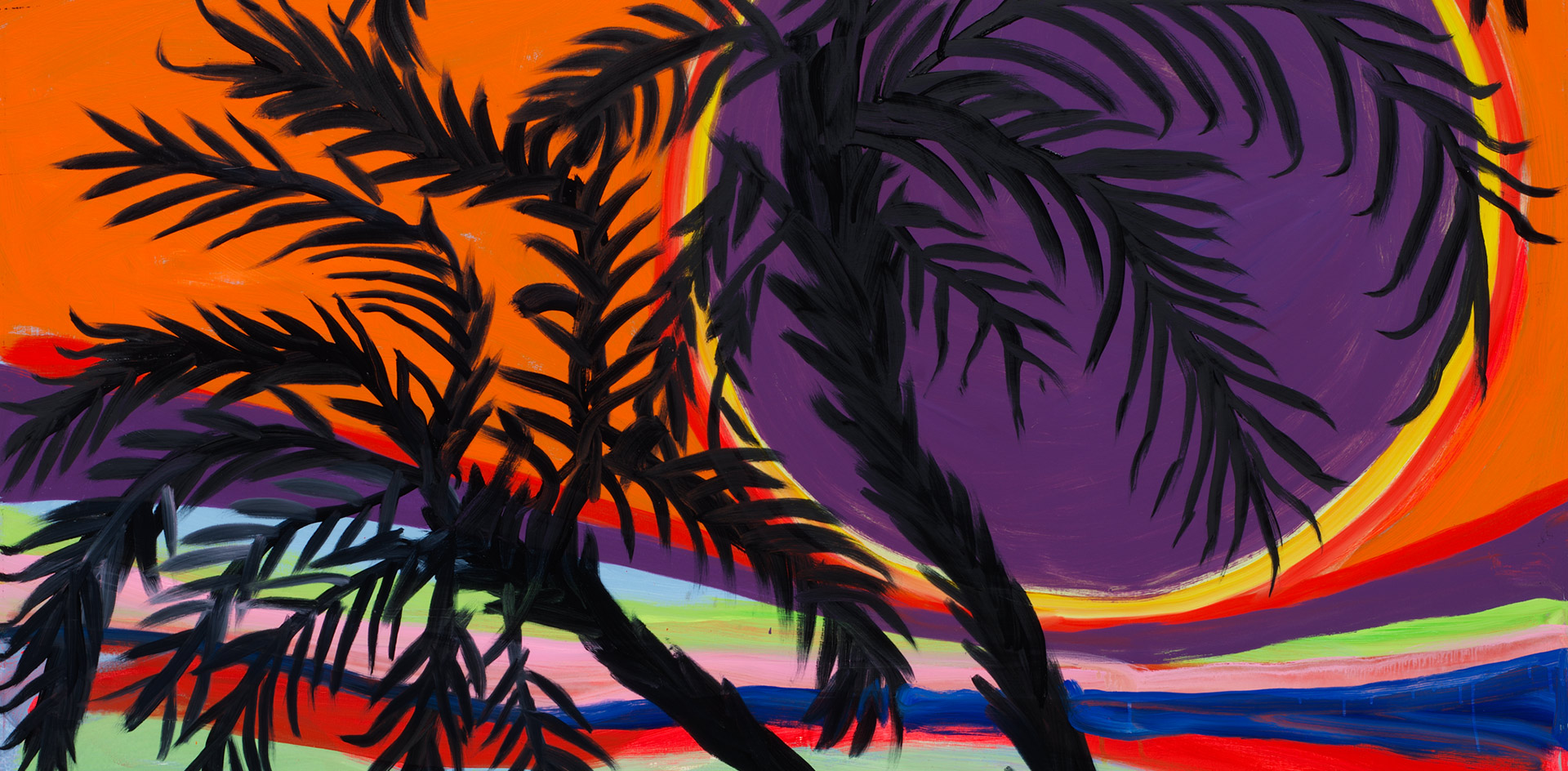 A detail from a painting by Josh Smith, titled Karma Palms #4, dated 2019.