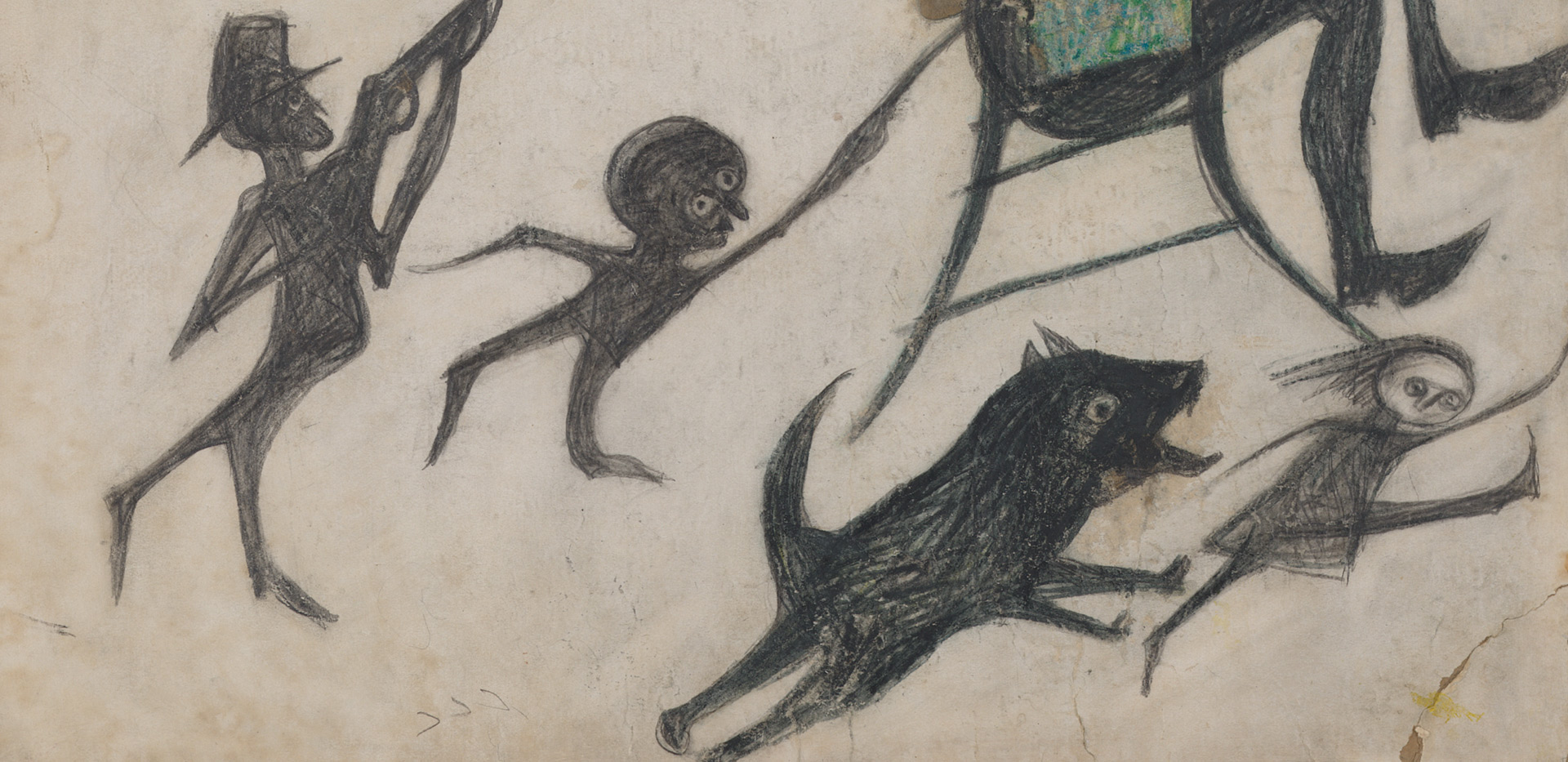 A detail from a work by Bill Traylor, titled Exciting Event (Man on Chair, Man with Rifle, Dog Chasing Girl, Yellow Bird and Other Figures), dated 1939-1942.