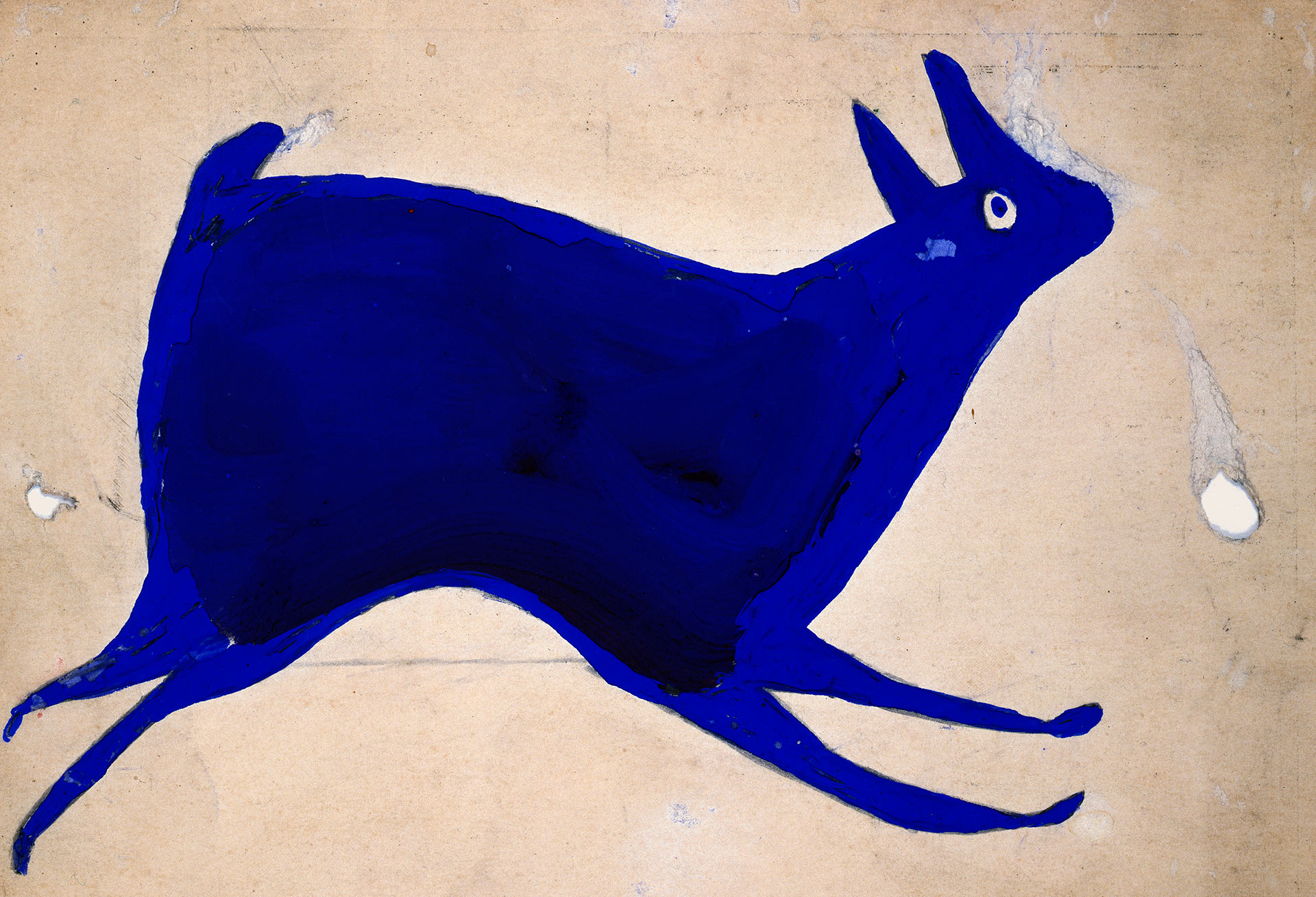 A drawing by Bill Traylor, titled Blue Rabbit Running, dated 1939-1942.