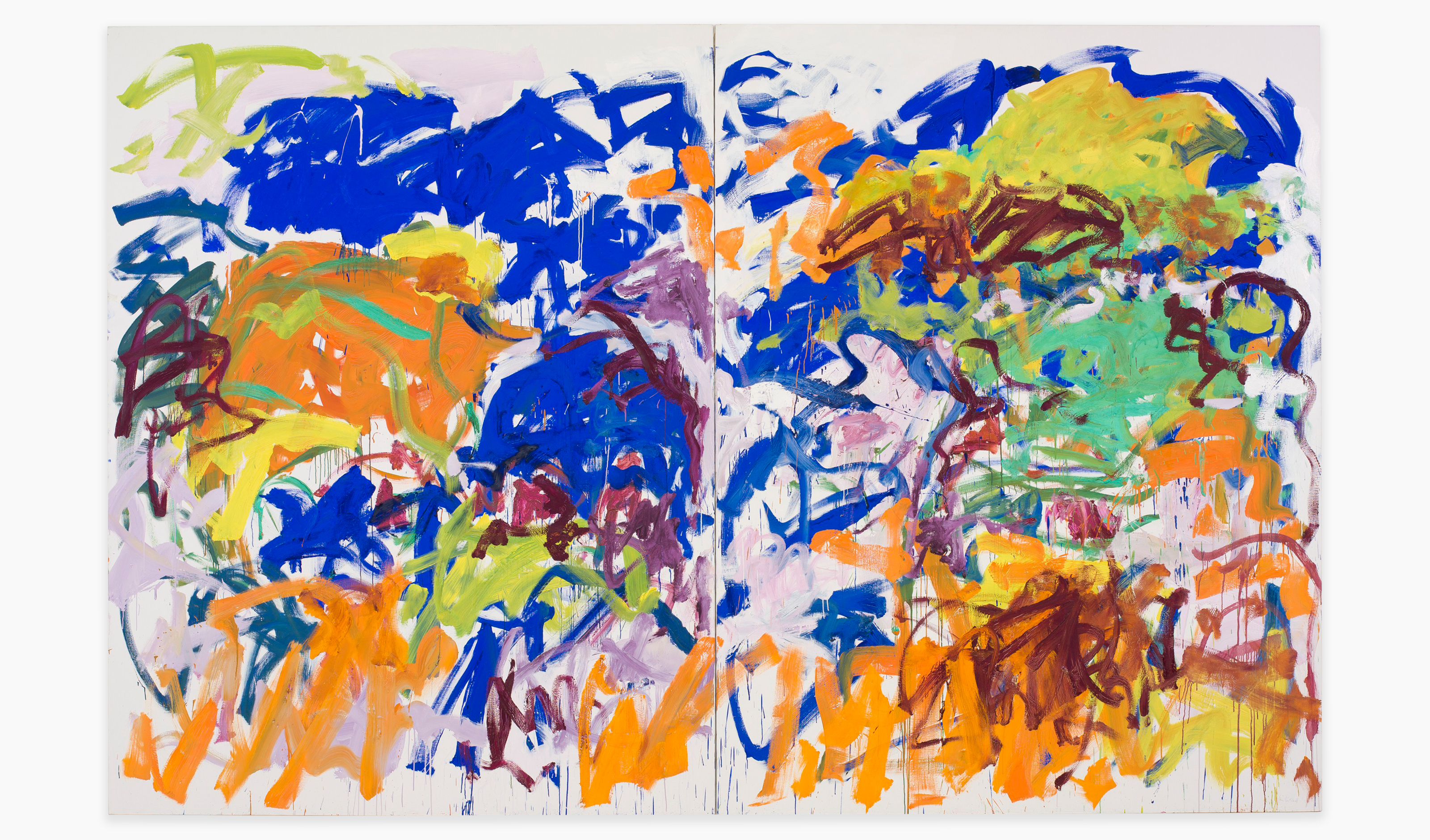 A painting by Joan Mitchell, titled, Ici, dated 1992.