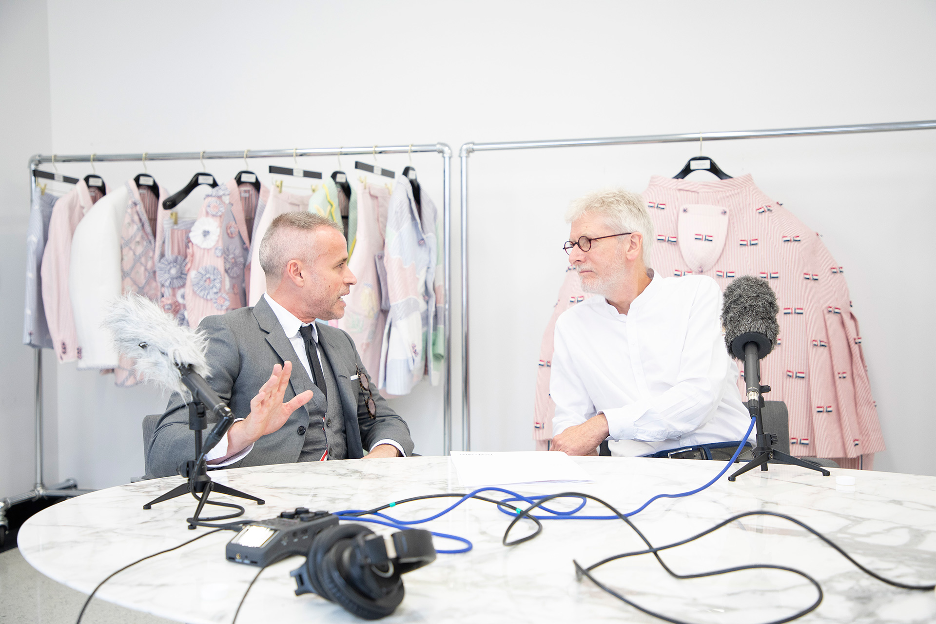 a photo of Thom Browne and Michael Glover at Browne's studio in New York, 2019.