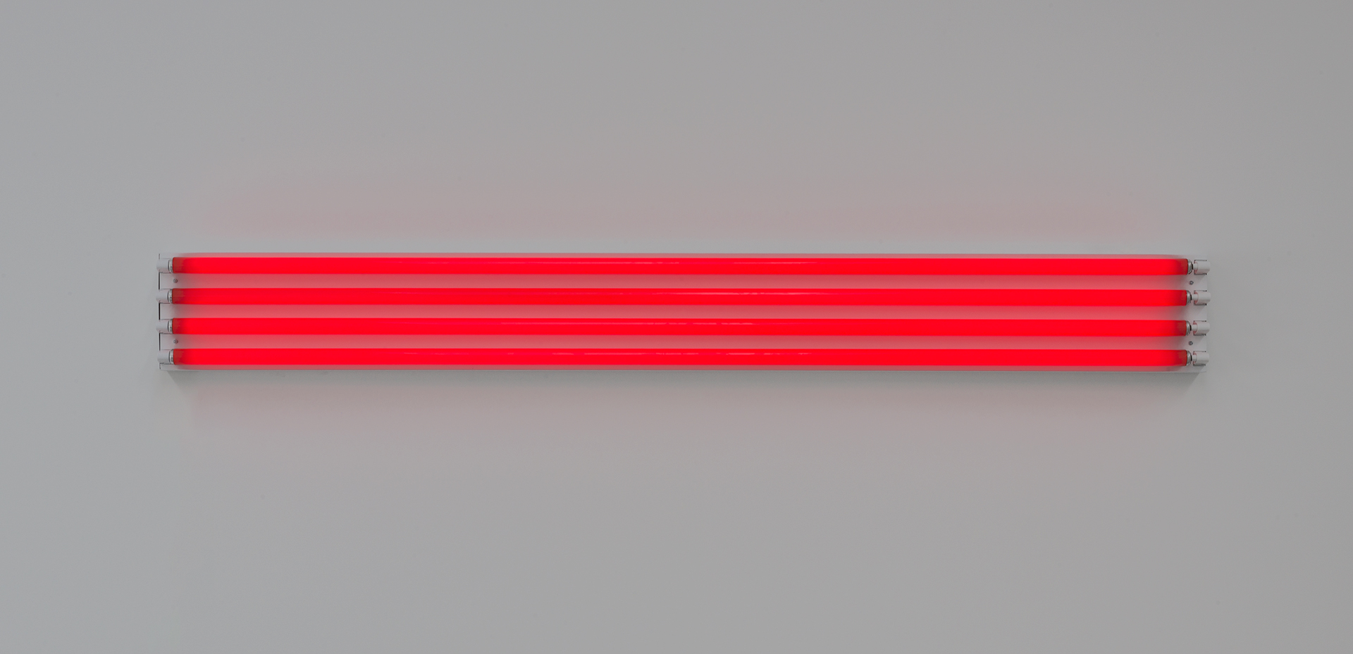 A sculpture by Dan Flavin, titled four red horizontals (to Sonja), dated 1963.