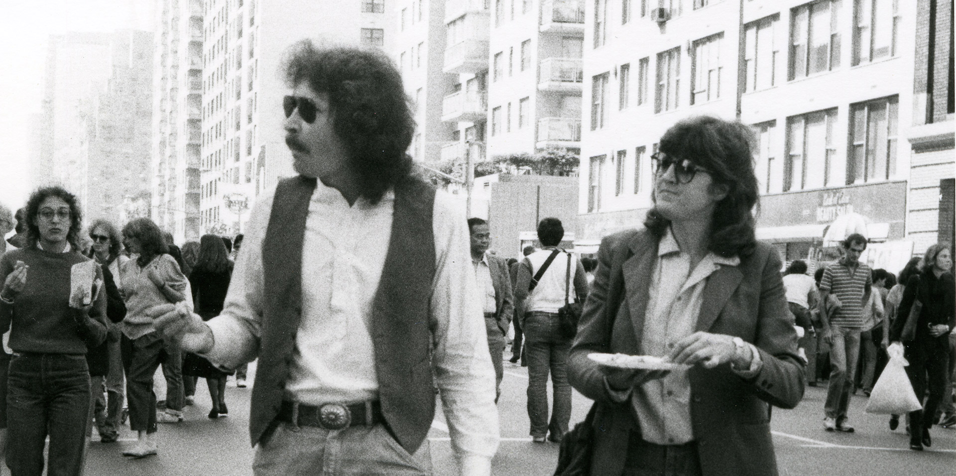 An archival photo of Doug Wheeler and Vija Celmins in New York, dated 1981.