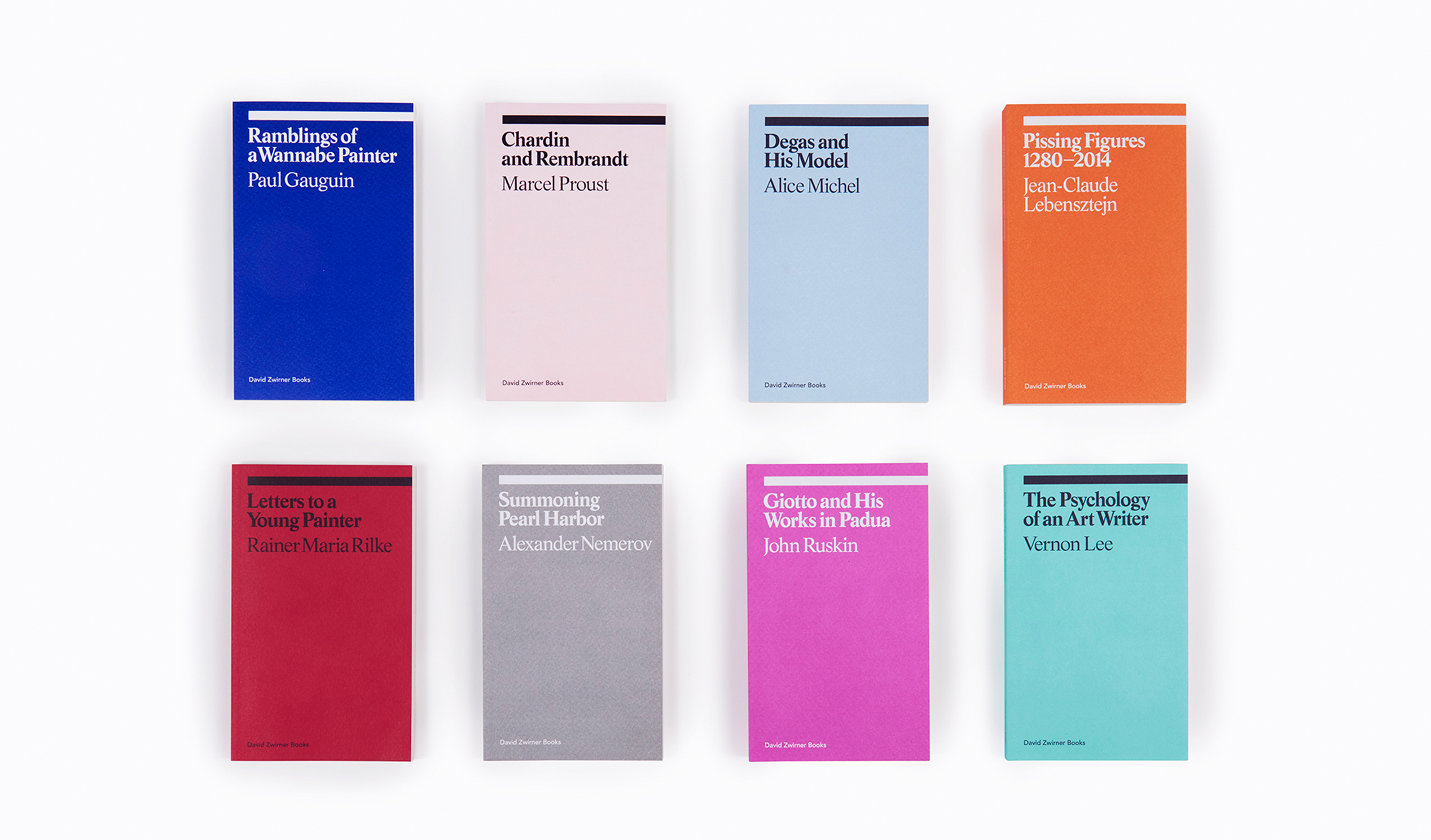 A photograph of books in the David Zwirner Books Ekphrasis series.
