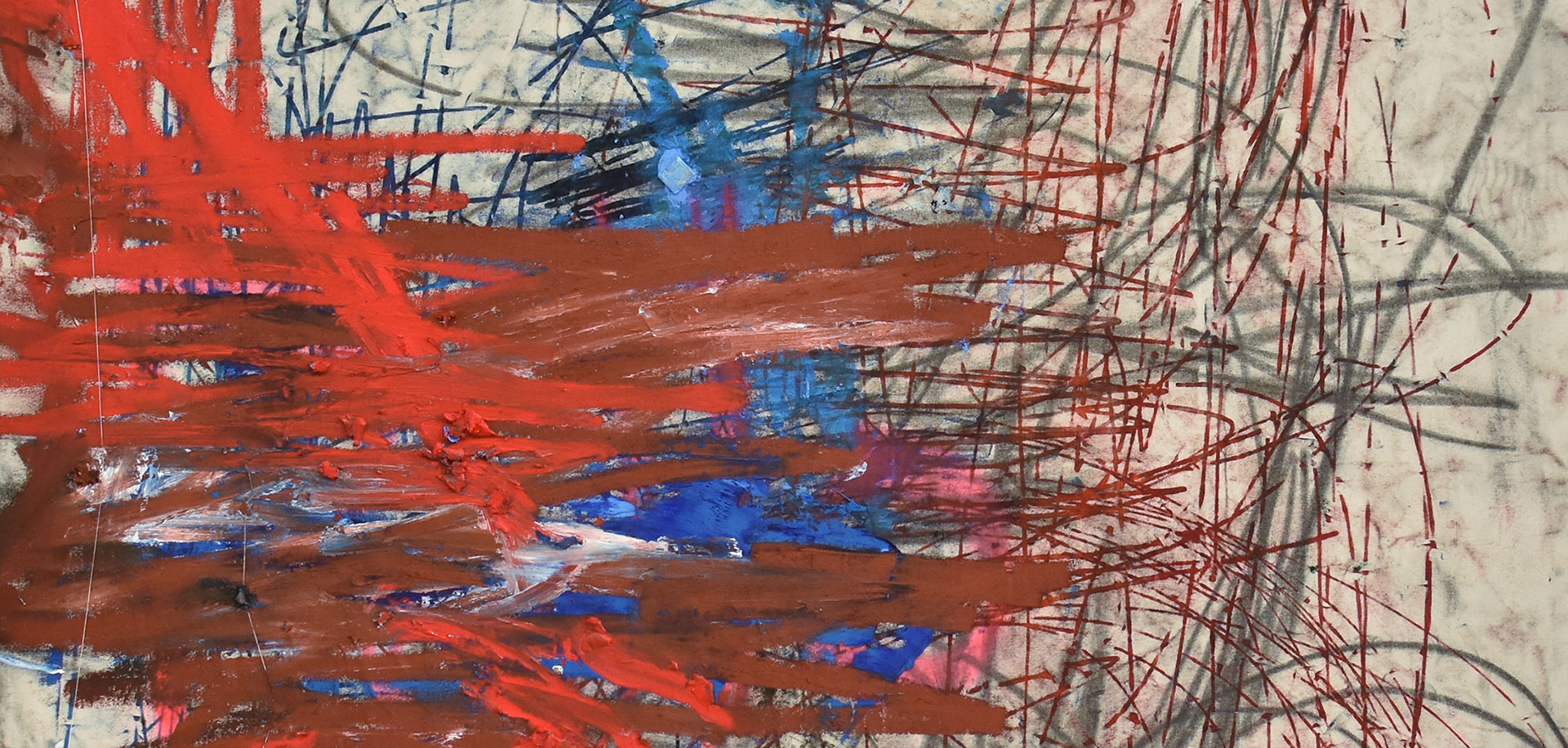 A detail from an artwork by Oscar Murillo, titled (untitled) ética y estética, dated 2020.