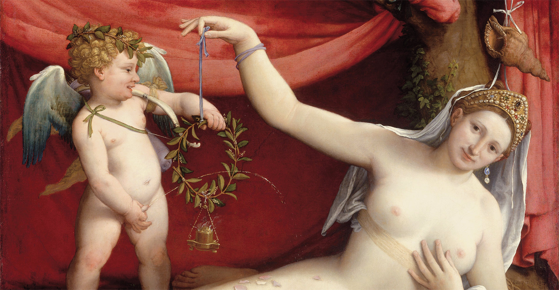 A detail from a painting by Lorenzo Lotto, titled Venus and Cupid, dated c. 1525.