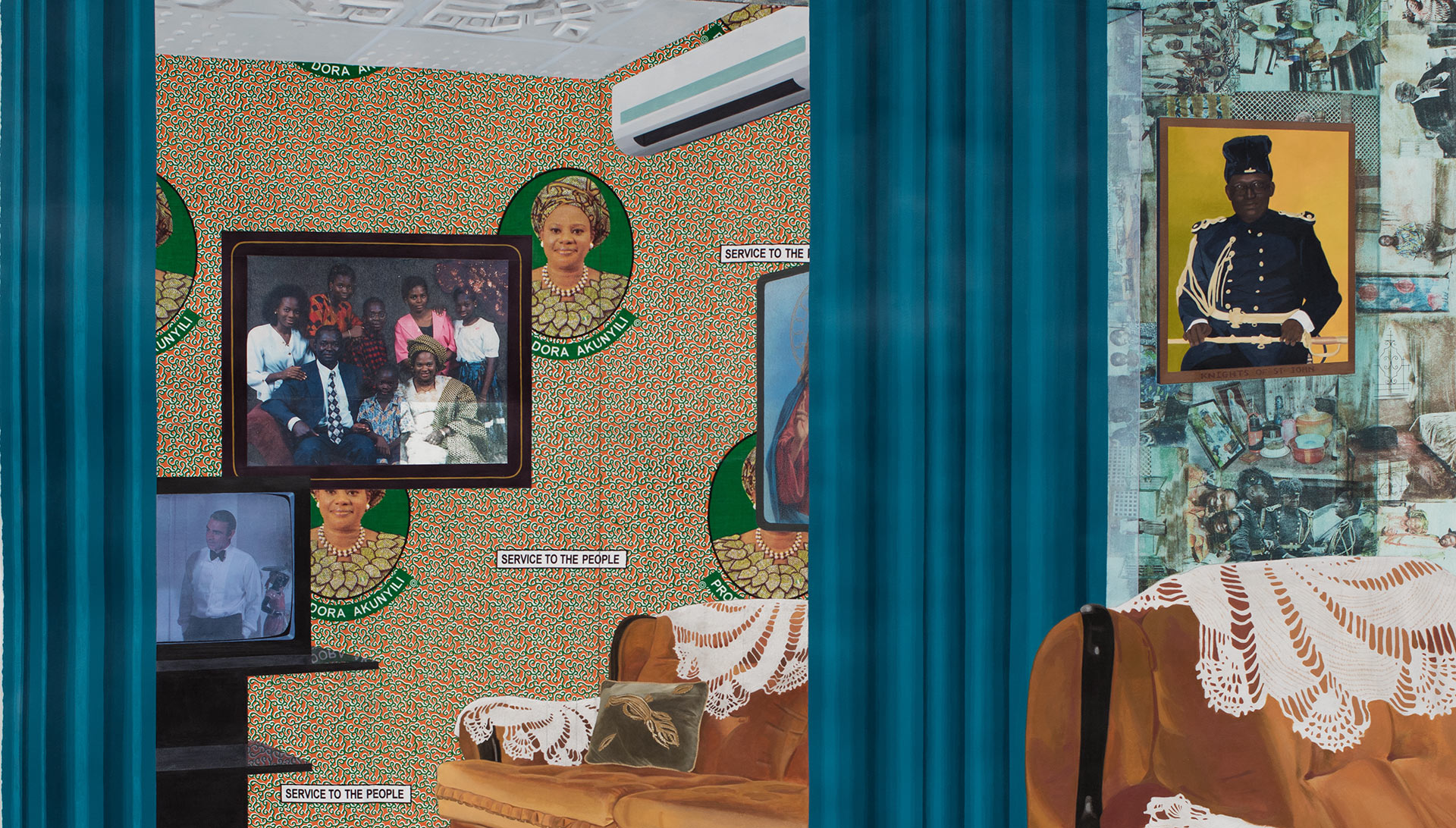 A detail from a painting by Njideka  Akunyili Crosby, titled The  Beautyful  Ones Series #1c, dated 2014 .