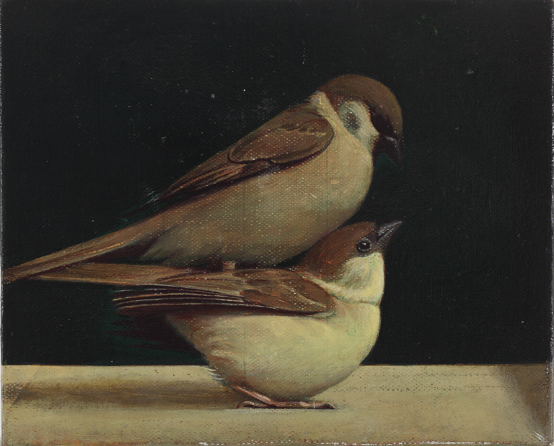 A painting by Liu Ye, titled bird on Bird, dated 2011.