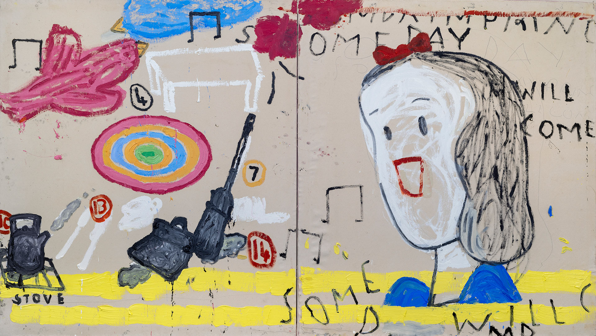 A painting by Rose Wylie, titled Snowwhite (2) One Day her Prince Will Come, dated 2018.