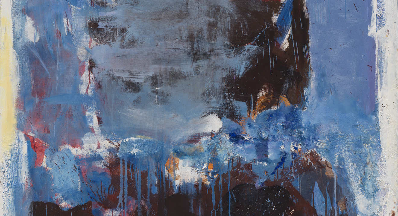 A detail from an untitled painting by joan mitchell, dated 1972.