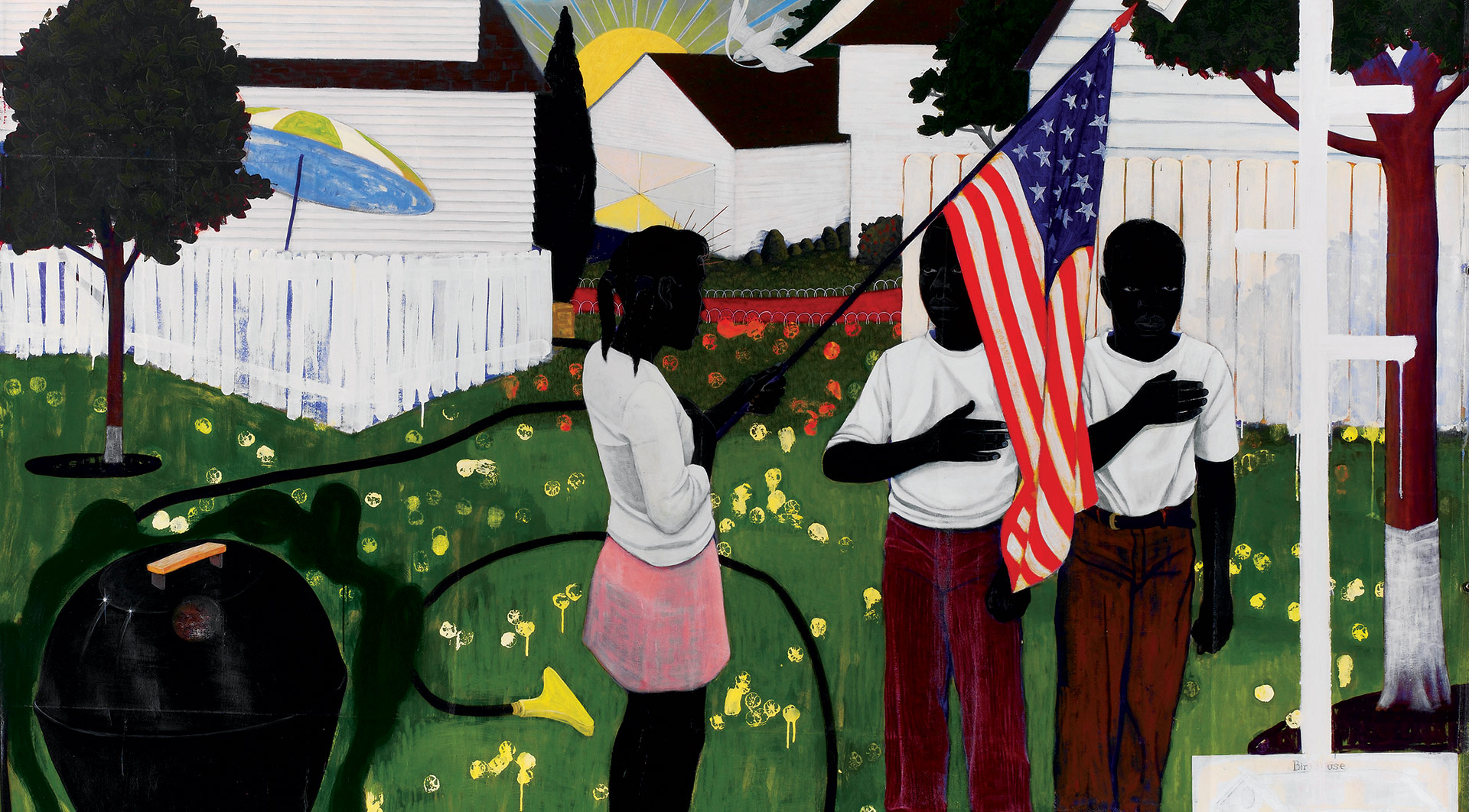 A detail from a painting by Kerry James Marshall, titled Bang, dated 1994.