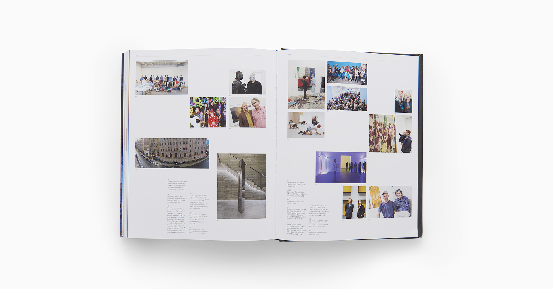 Interior spread from the book David Zwirner: 25 Years, published by David Zwirner Books in 2018.
