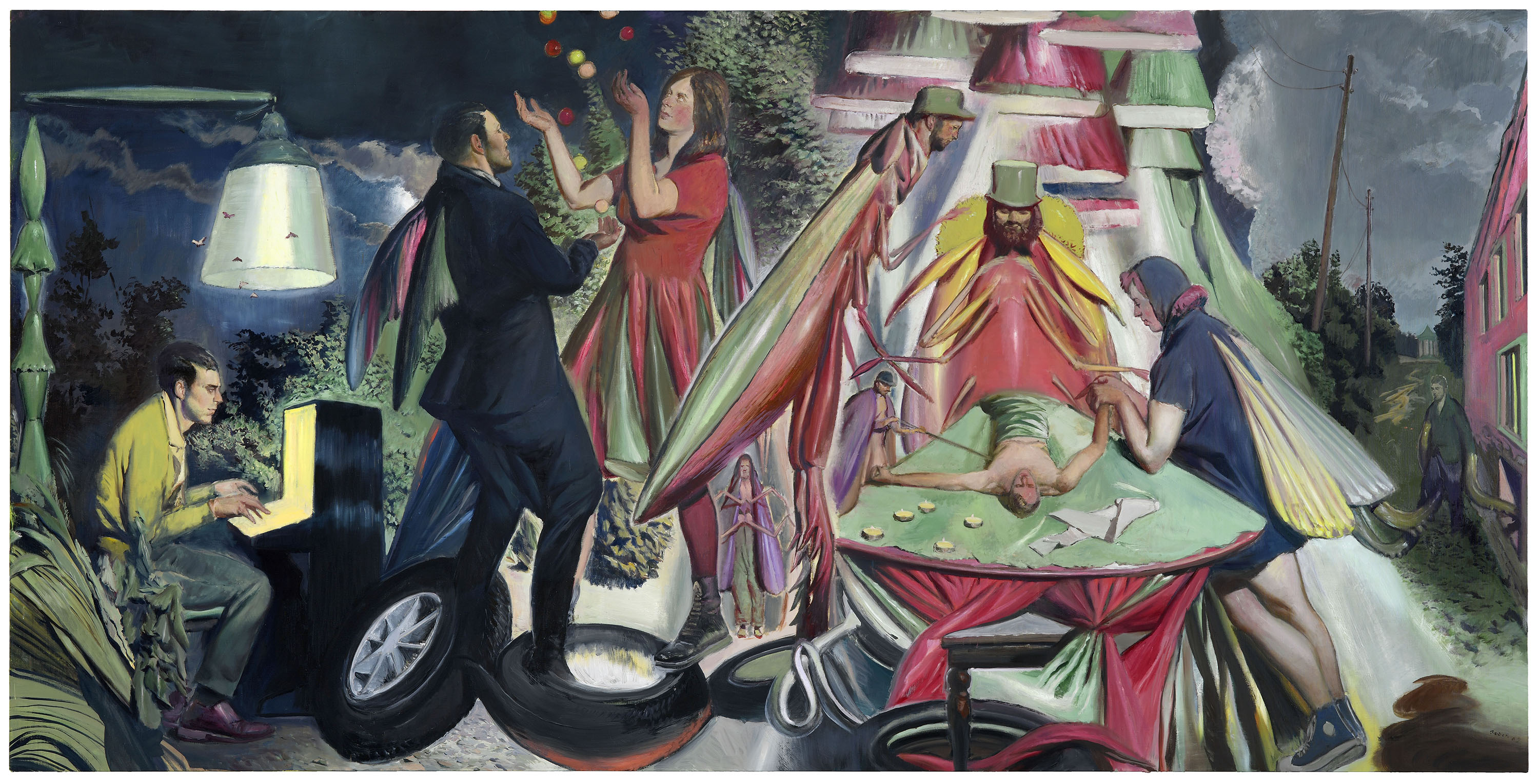 A painting by Neo Rauch, titled Die Wandlung, dated 2019.