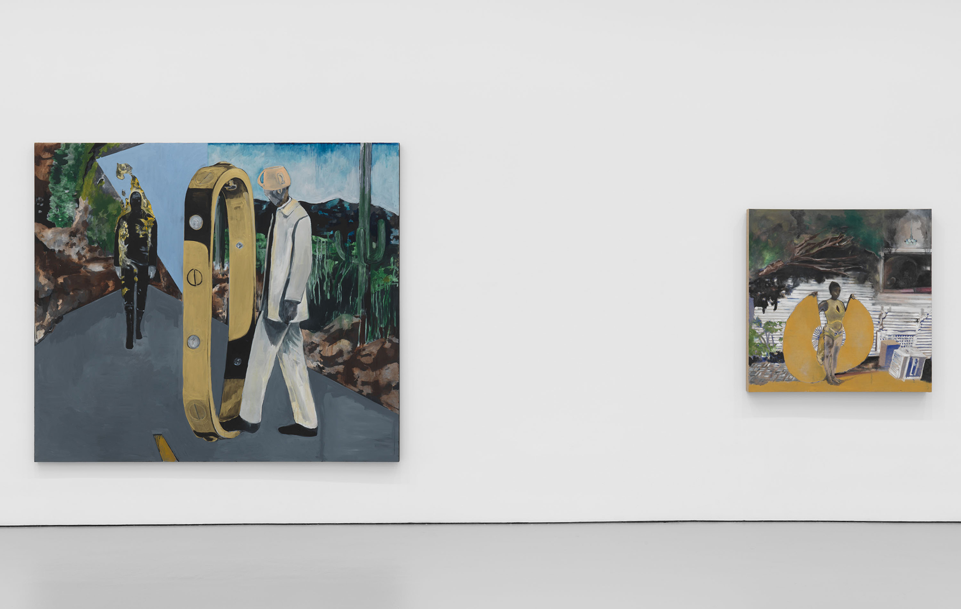 Installation view of the exhibition Noah Davis at David Zwirner in New York, dated 2020.