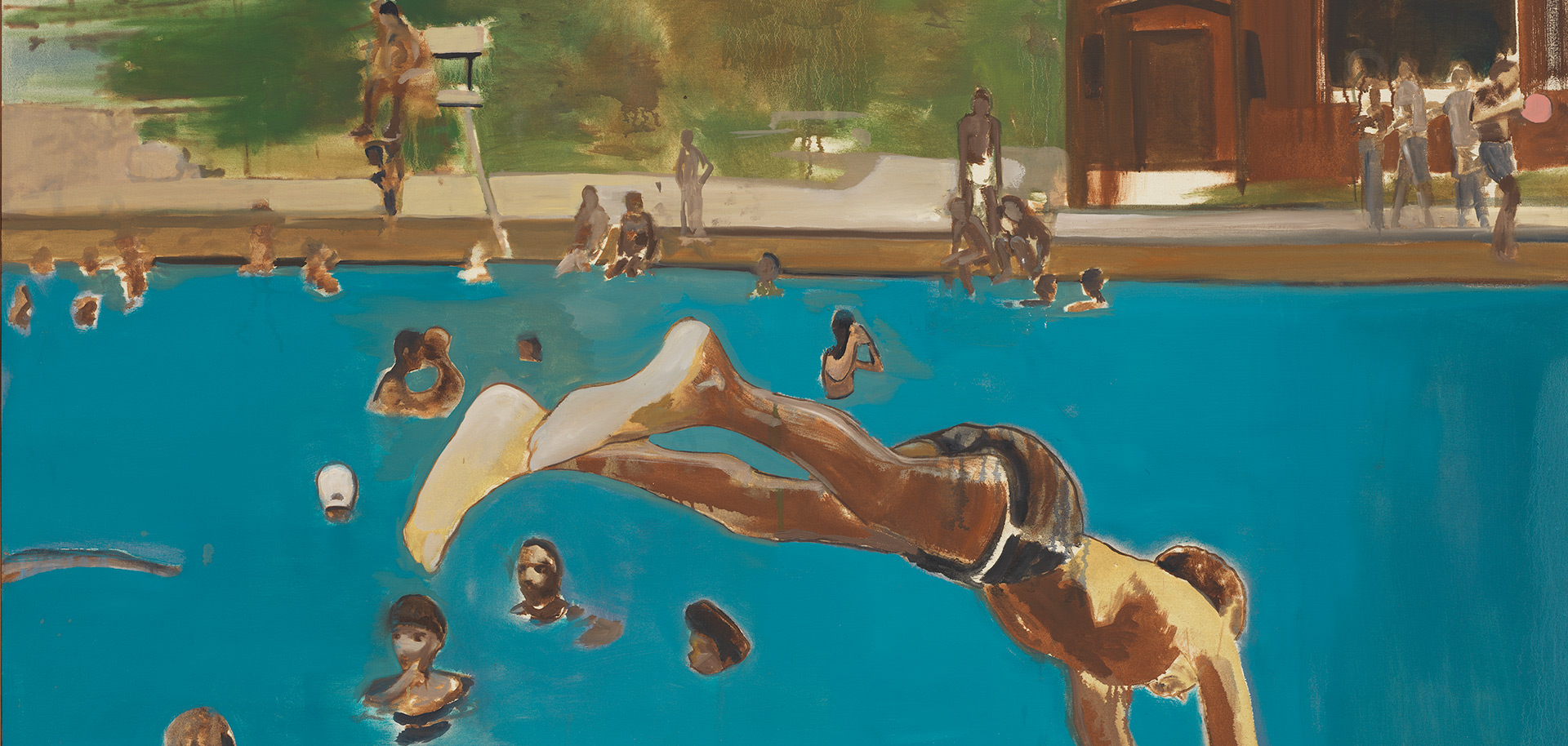 A detail from a painting by Noah Davis, titled 1975 (8), dated 2013.