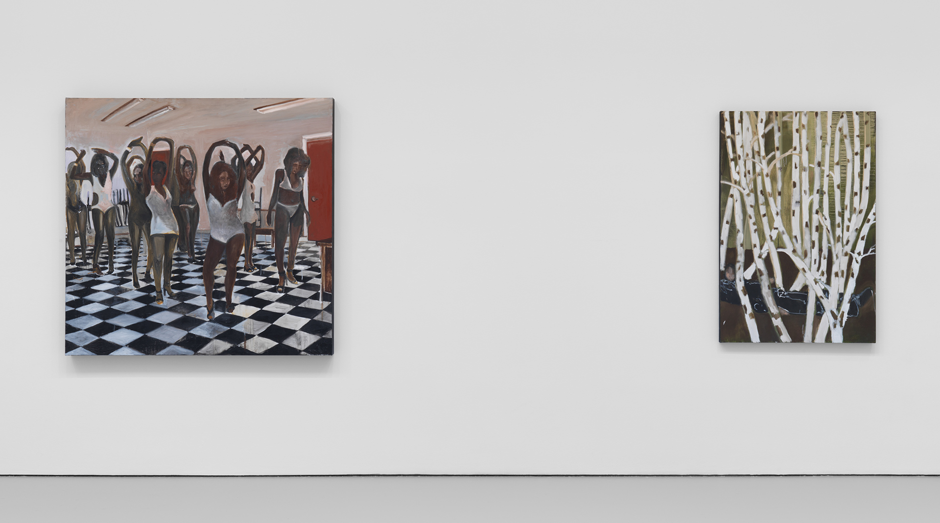 An installation view of the show Noah Davis at David Zwirner, New York, in 2020.