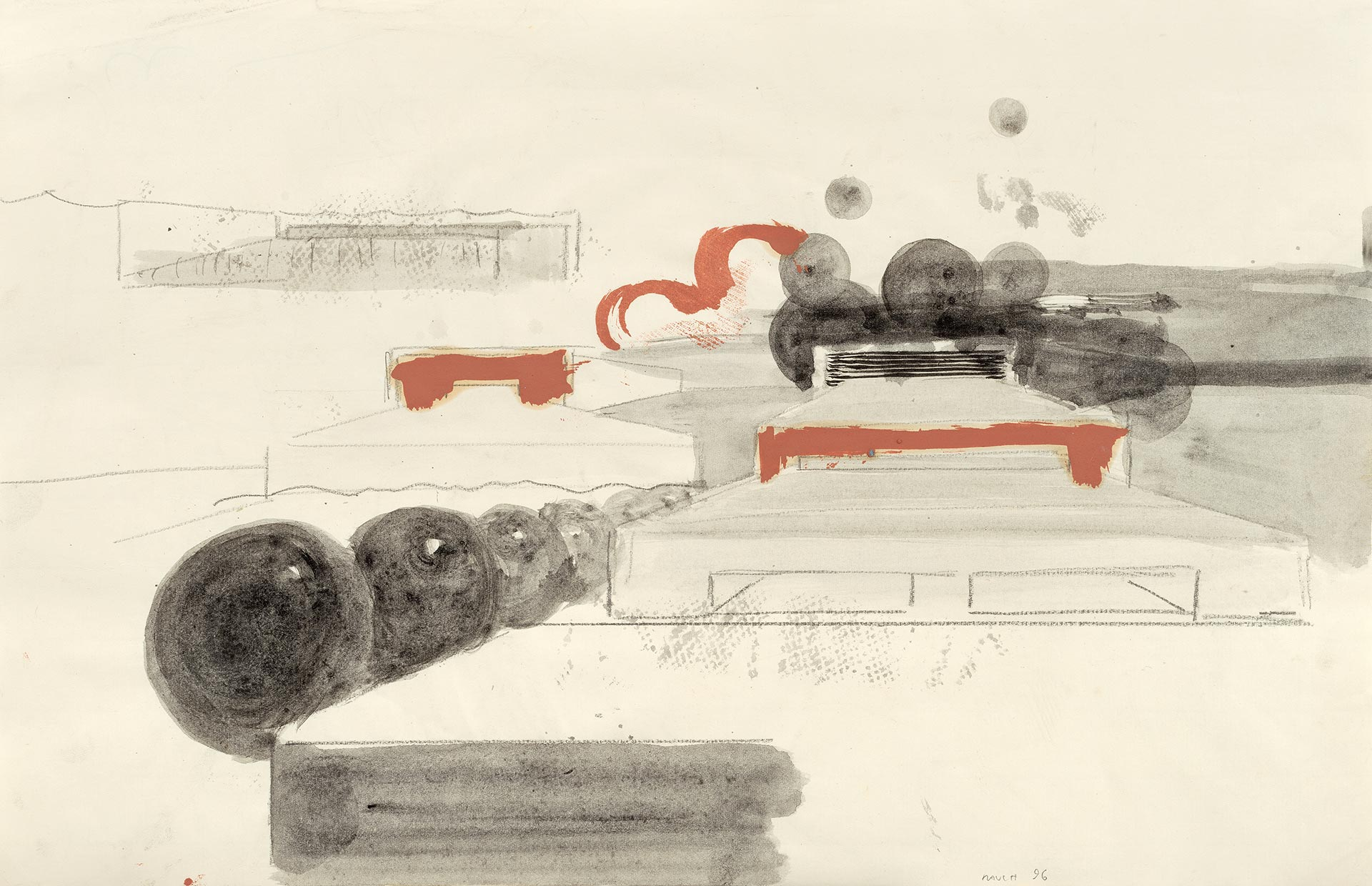 A drawing by Neo Rauch, titled Neo Rauch, Hauptquartier, dated 1996.