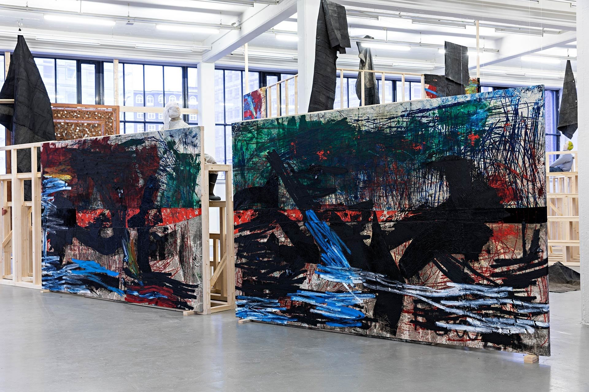 A photo of an installation by Oscar Murillo, titled Horizontal Darkness in Search of Solidarity at Kunstverein in Hamburg, Germany, dated 2019.
