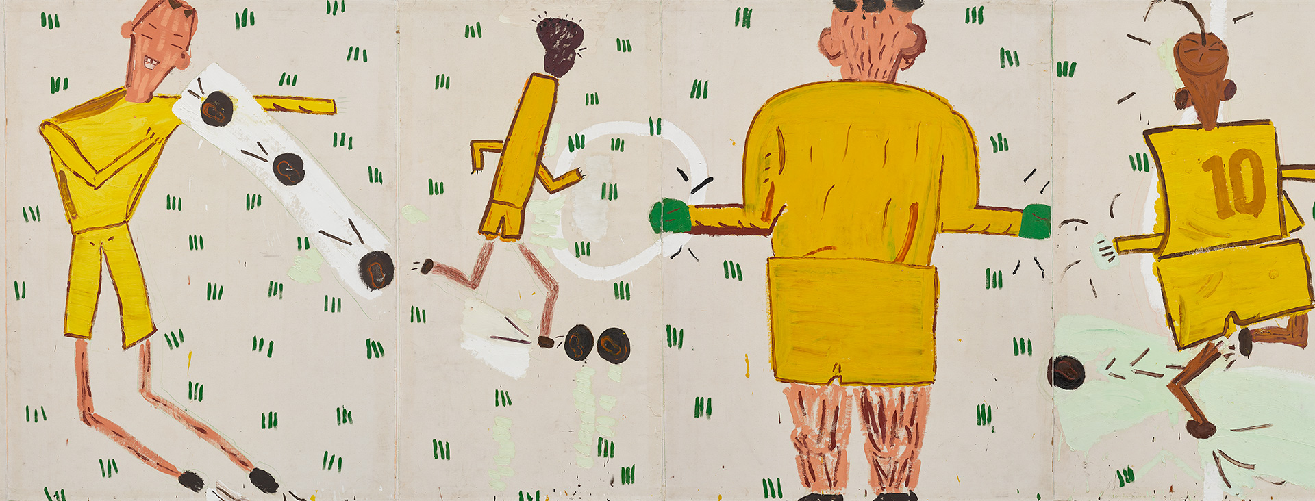 A detail from a painting by Rose Wylie, titled Yellow Strip, dated 2006.