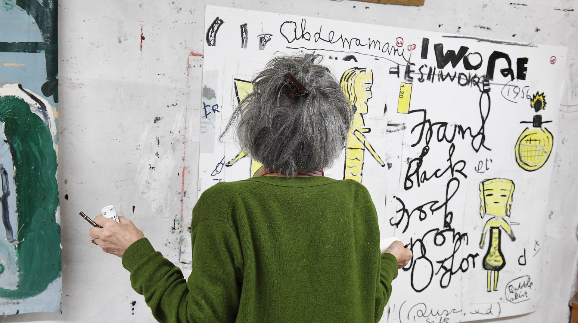 A photo of Rose Wylie at work in her studio, dated 2020.