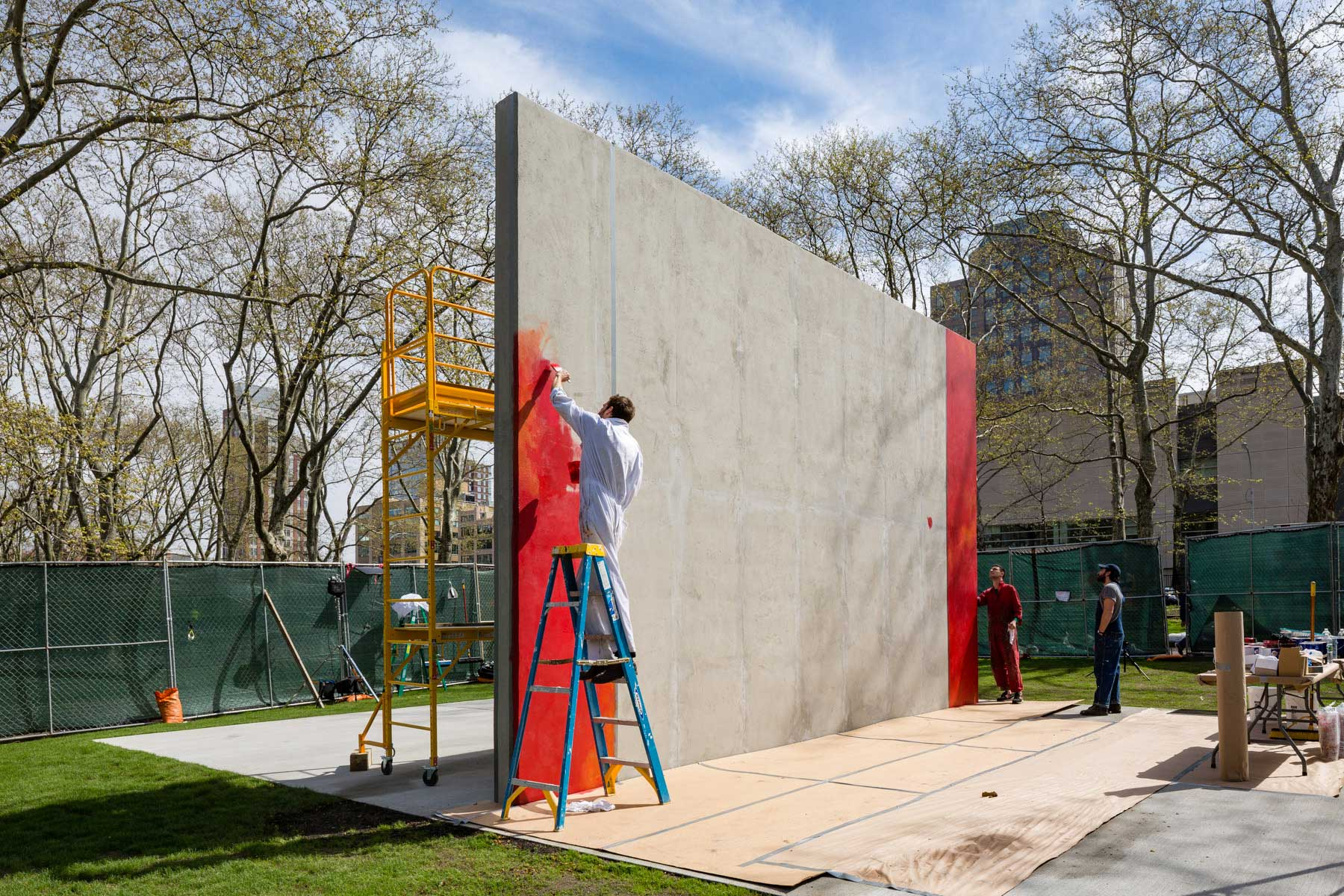 A photograph of Harold Ancart working on Subliminal Standard at Cadman Plaza Park in New York, 2019.