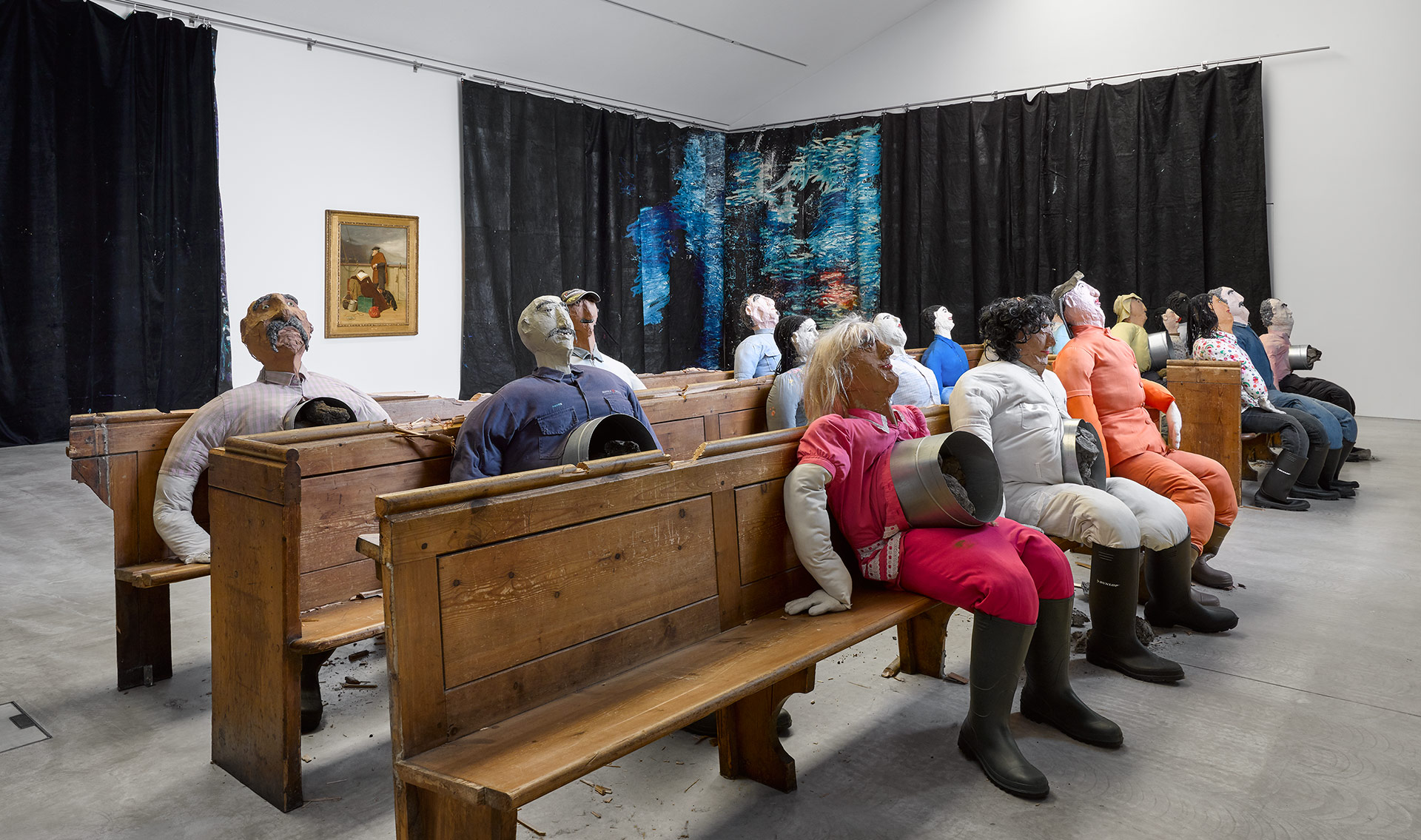 An installation view of Oscar Murillo's presentation in the 2019 Turner Prize exhibition.