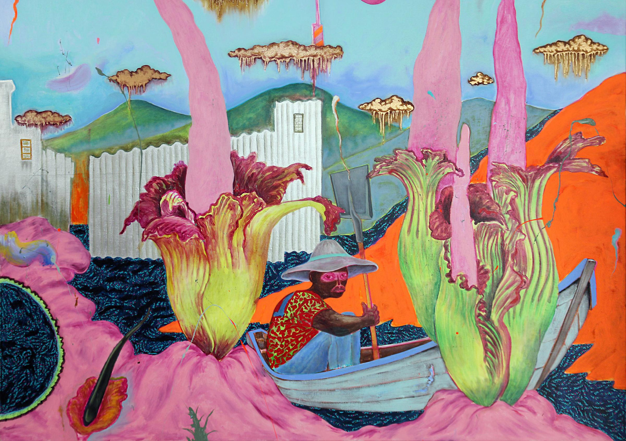 A detail from a painting by Simphiwe Ndzube, titled The Bloom of the Corpse Flower, dated 2020.
